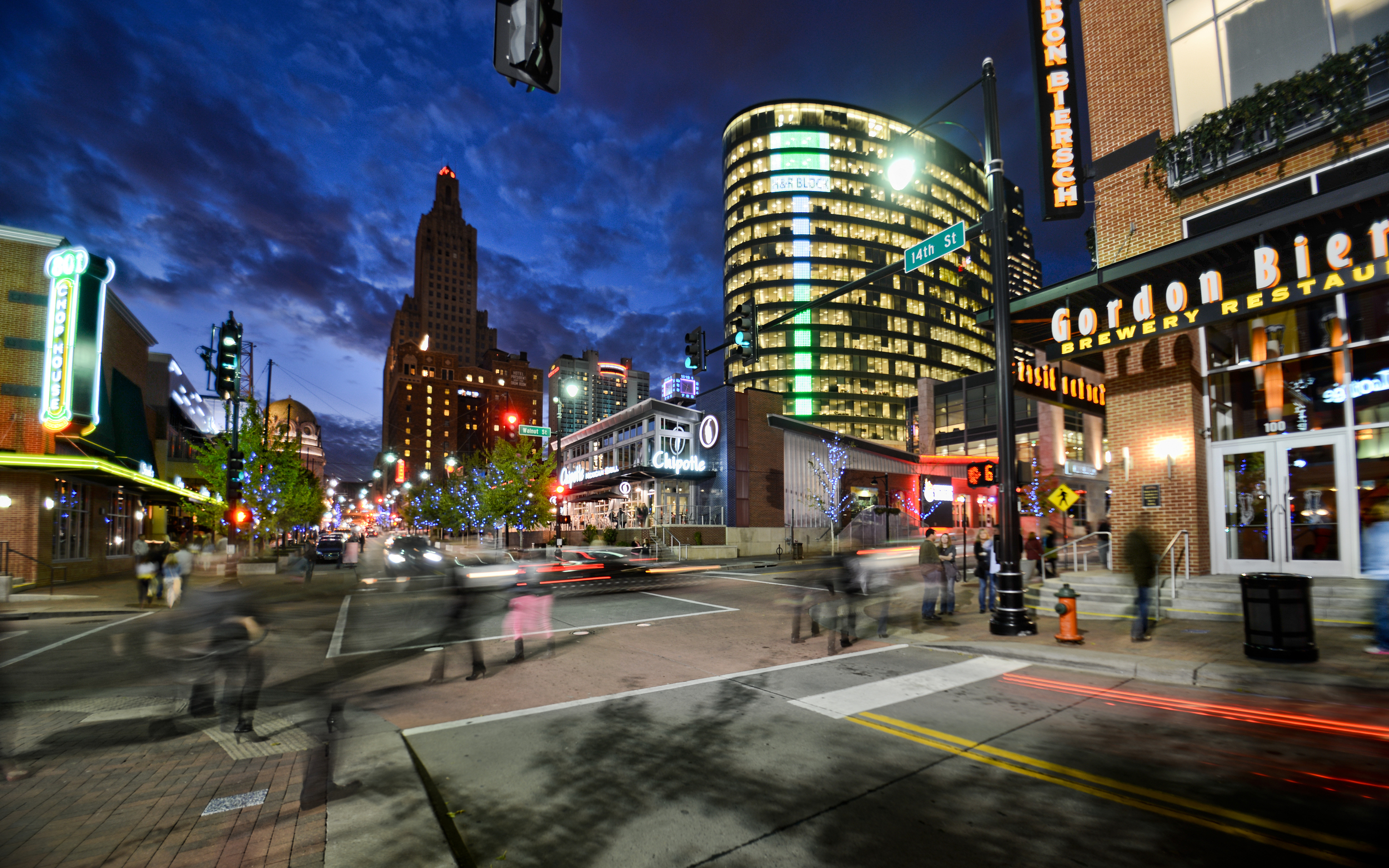 Tuohey says since the inception of the Power & Light District, liquor licenses and health cards issued has remained the same, while only 50 percent of the jobs developers promised have actually been delivered. Image courtesy of VisitKC.