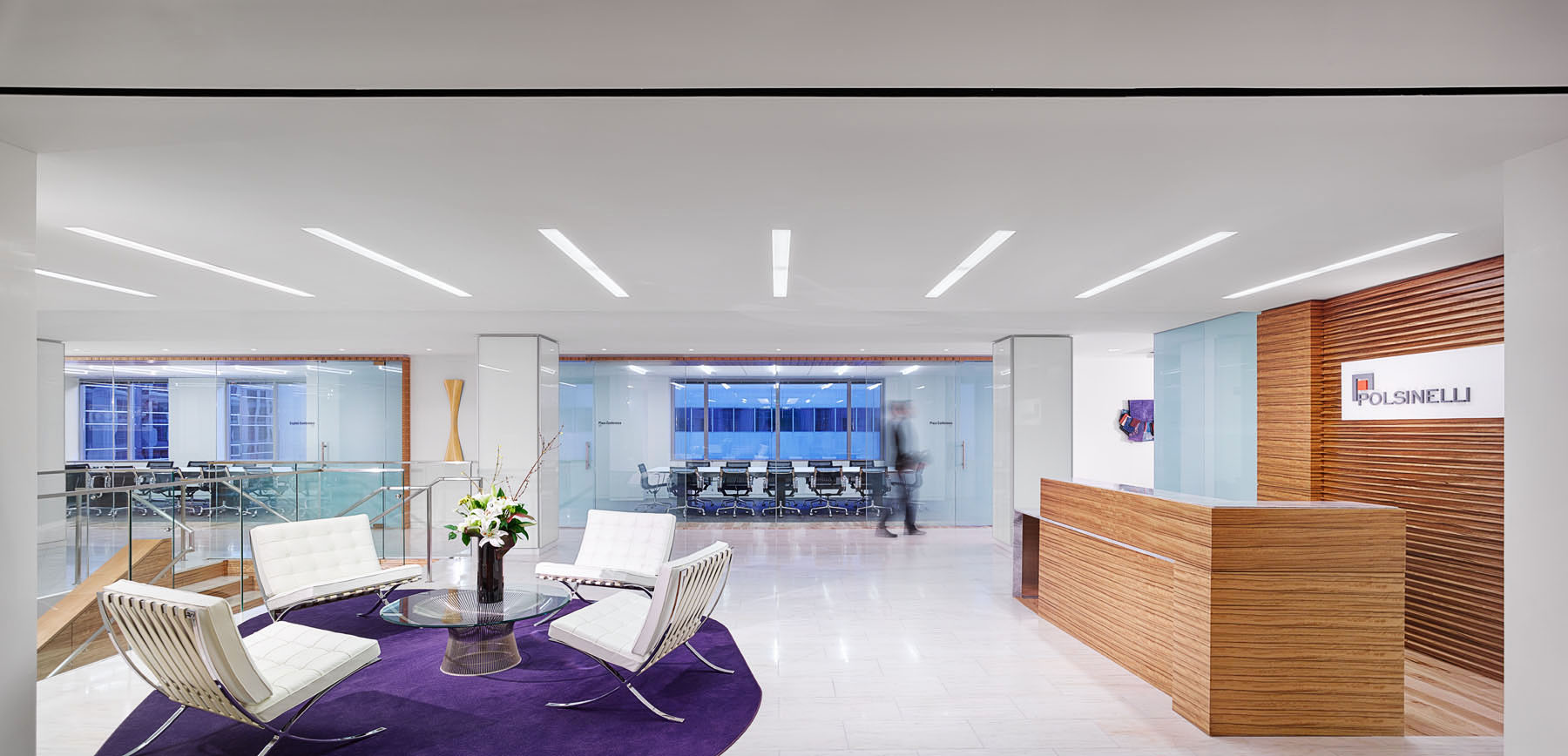 The welcoming lobby of Polsinelli PC's office in Washington, D.C. See a full gallery of the portfolio of new offices at the end of the article.