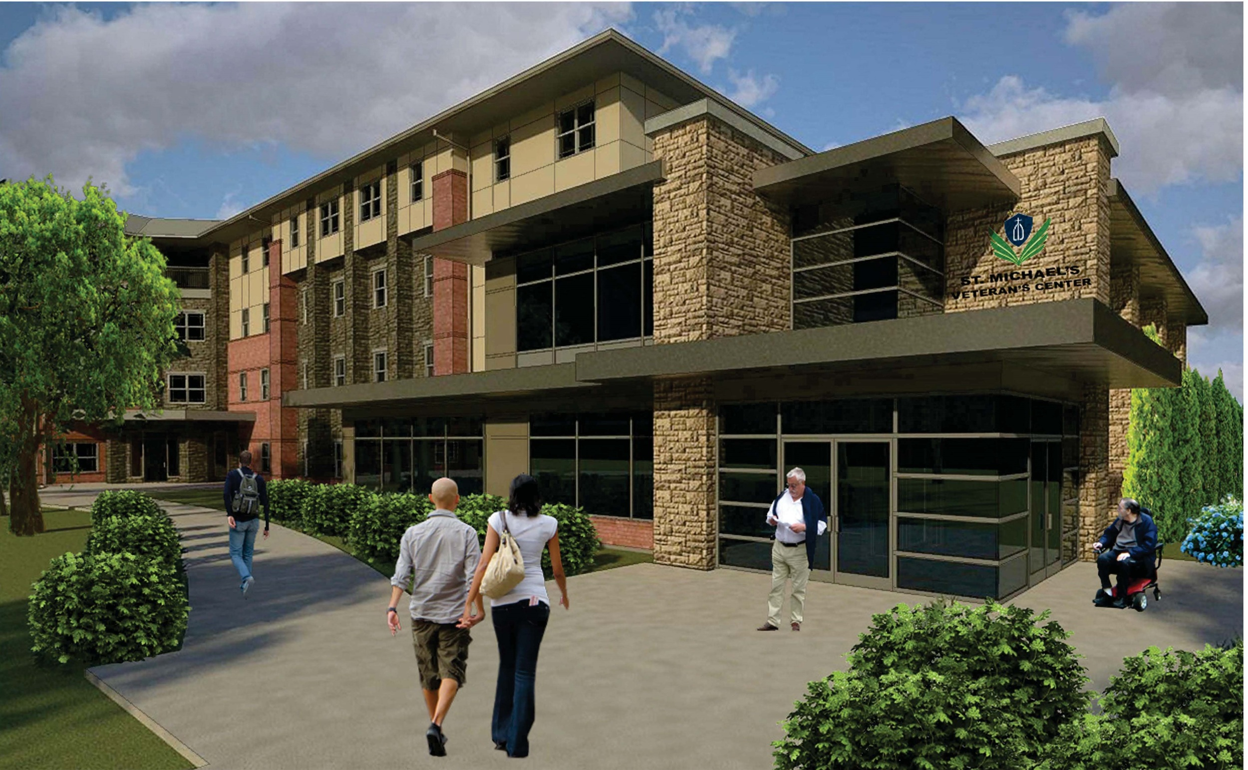 The St. Michael's Veterans Center serves homeless veterans; veterans with special needs, physical, mental and emotional impairments; or veterans facing imminent risk of being homeless. Rendering courtesy of 4Sight Construction Group.