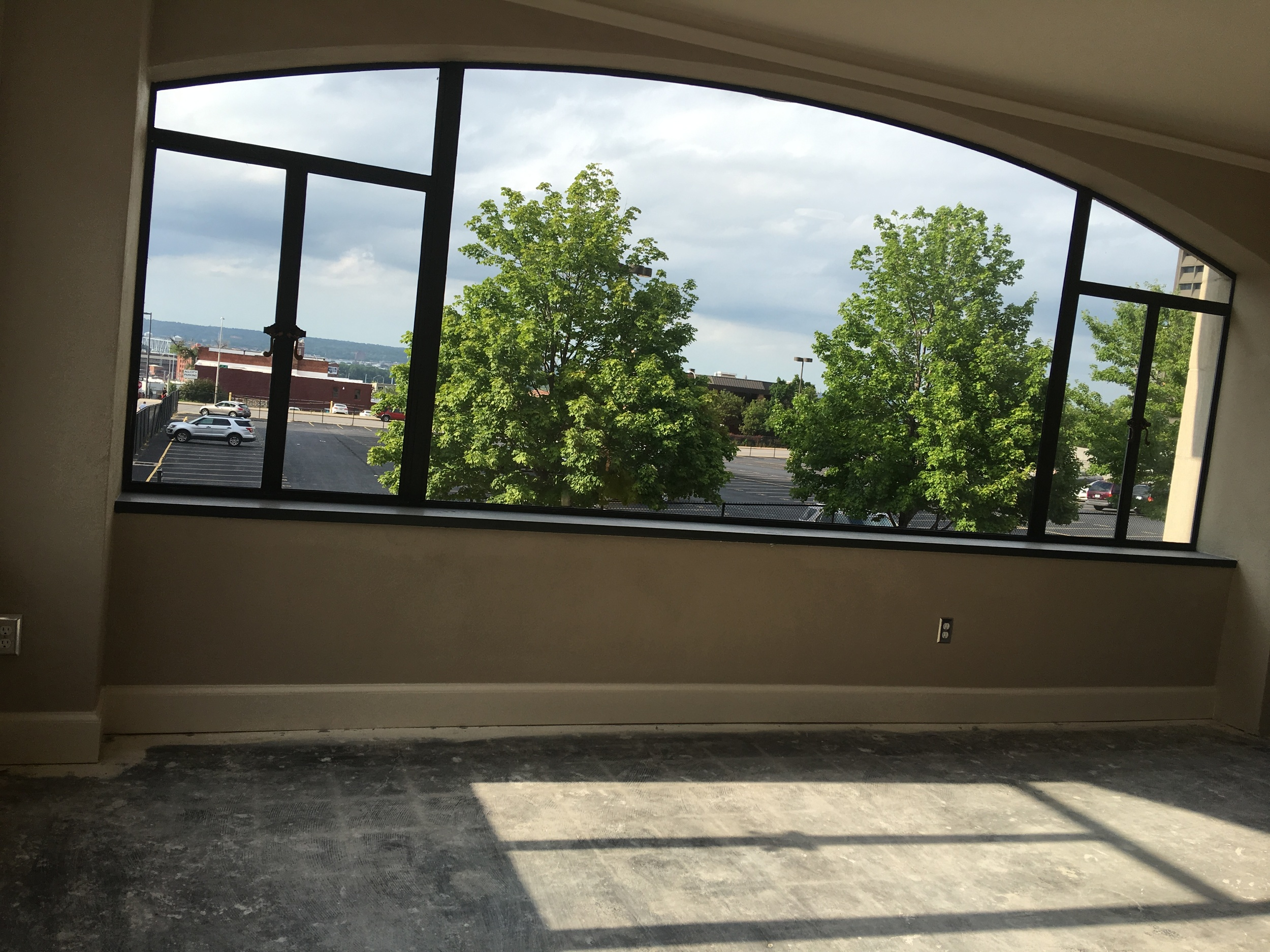 Units at the Pickwick are starting to take shape. Large windows provide stunning views of downtown.
