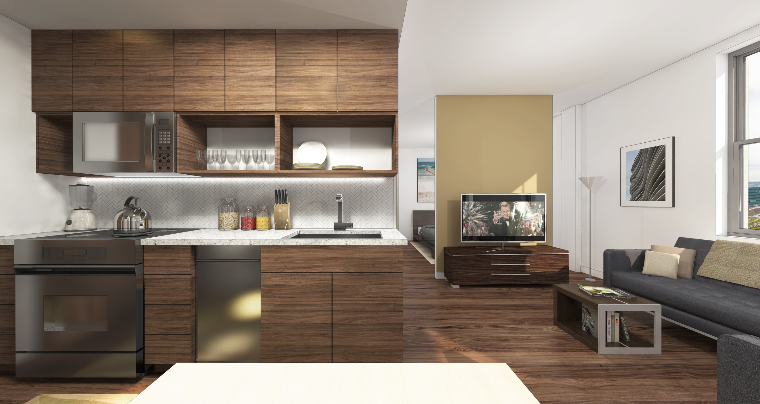 Units in the Pickwick range from 350 to 1,000 square feet. Pictured above: a flex unit, priced between $895 and $1,200.