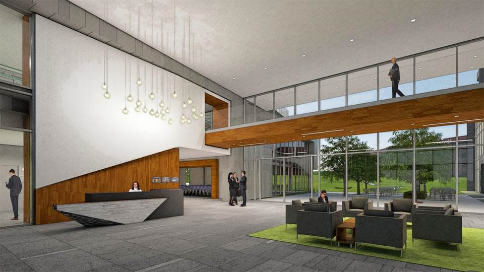 The new office buildings will include office space, a child day care, and gathering space for community events.