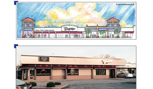 Renovations to the Watts Mill Shopping Center include new facades, lighting, and landscaping.