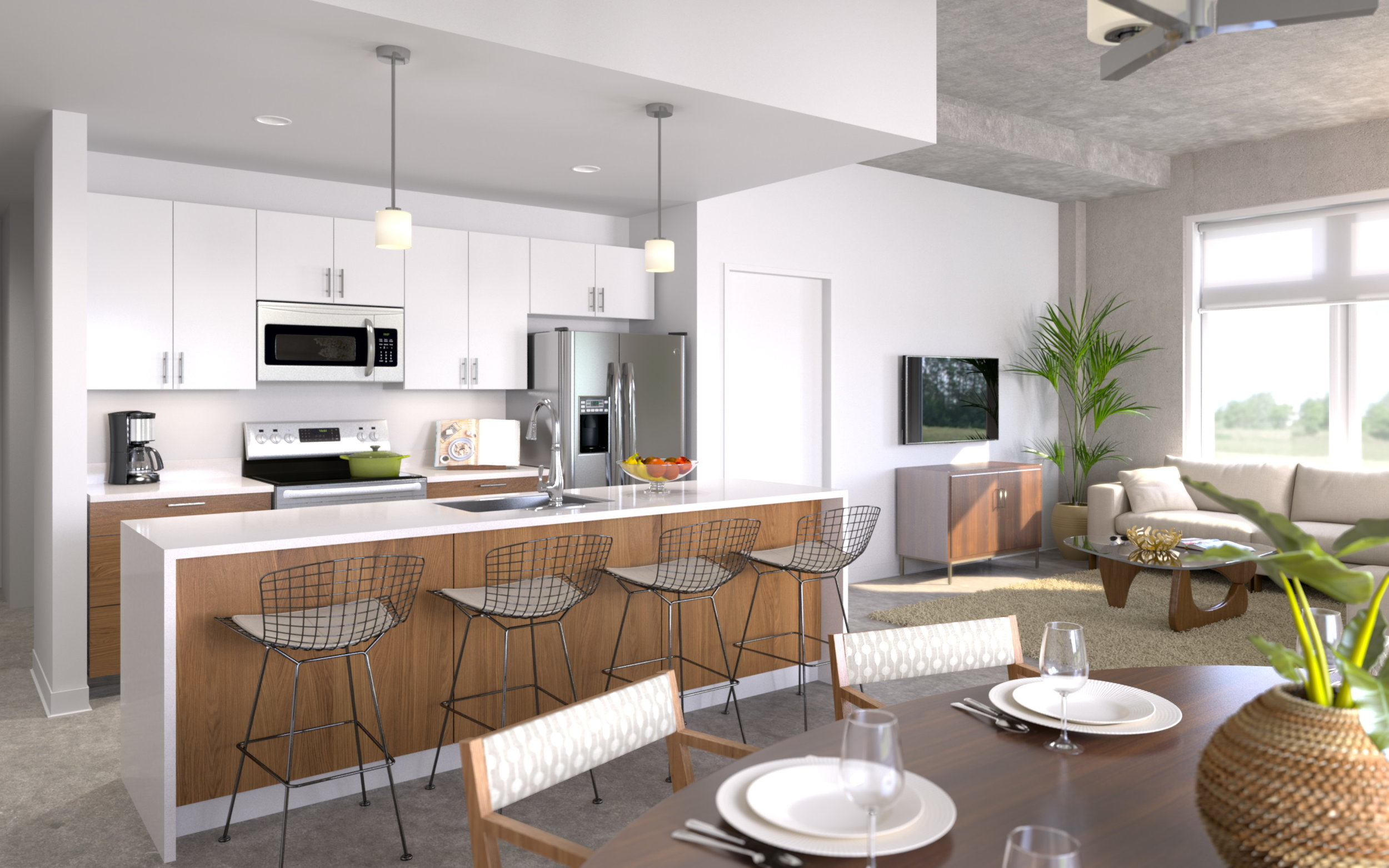 The smarter, stronger and more sustainable designs are modern, featuring lofty ceilings, above average square-foot layouts and polished cement floors.