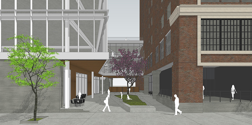 The Roasterie Cafe at Corrigan Station will have outdoor seating alongside a planned courtyard, which will sit between the historic building and the planned new construction building to the west.