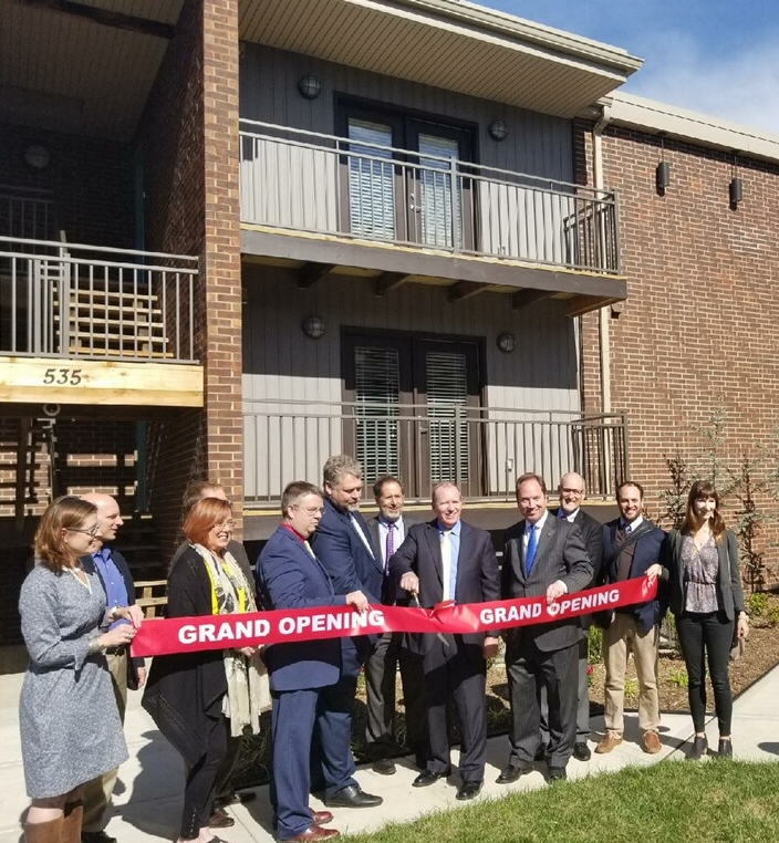 Developers and local dignitaries celebrated the opening of the Pendleton Flats apartment complex in the Paseo Gateway neighborhood on Oct. 25.