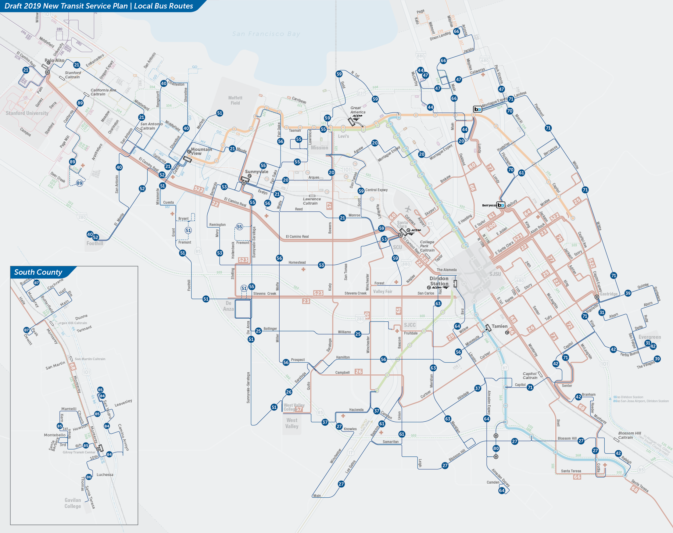 PDF:  Proposed Local Bus Routes Map  | PDF:  Downtown San Jose Map