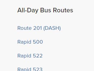 Listado de todas las rutas