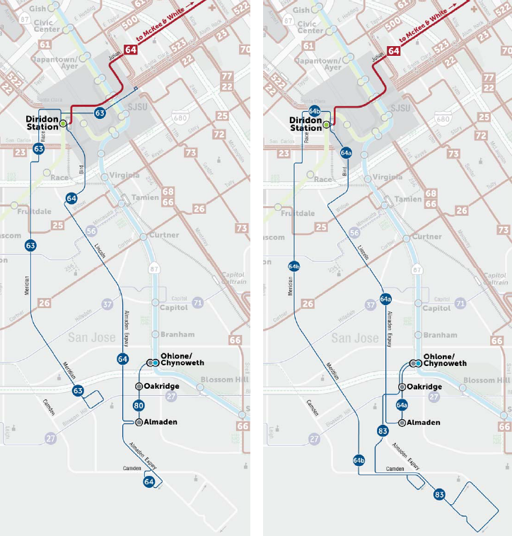 Transit service for Almaden in the Draft Plan (left side) and Final Plan (right side)