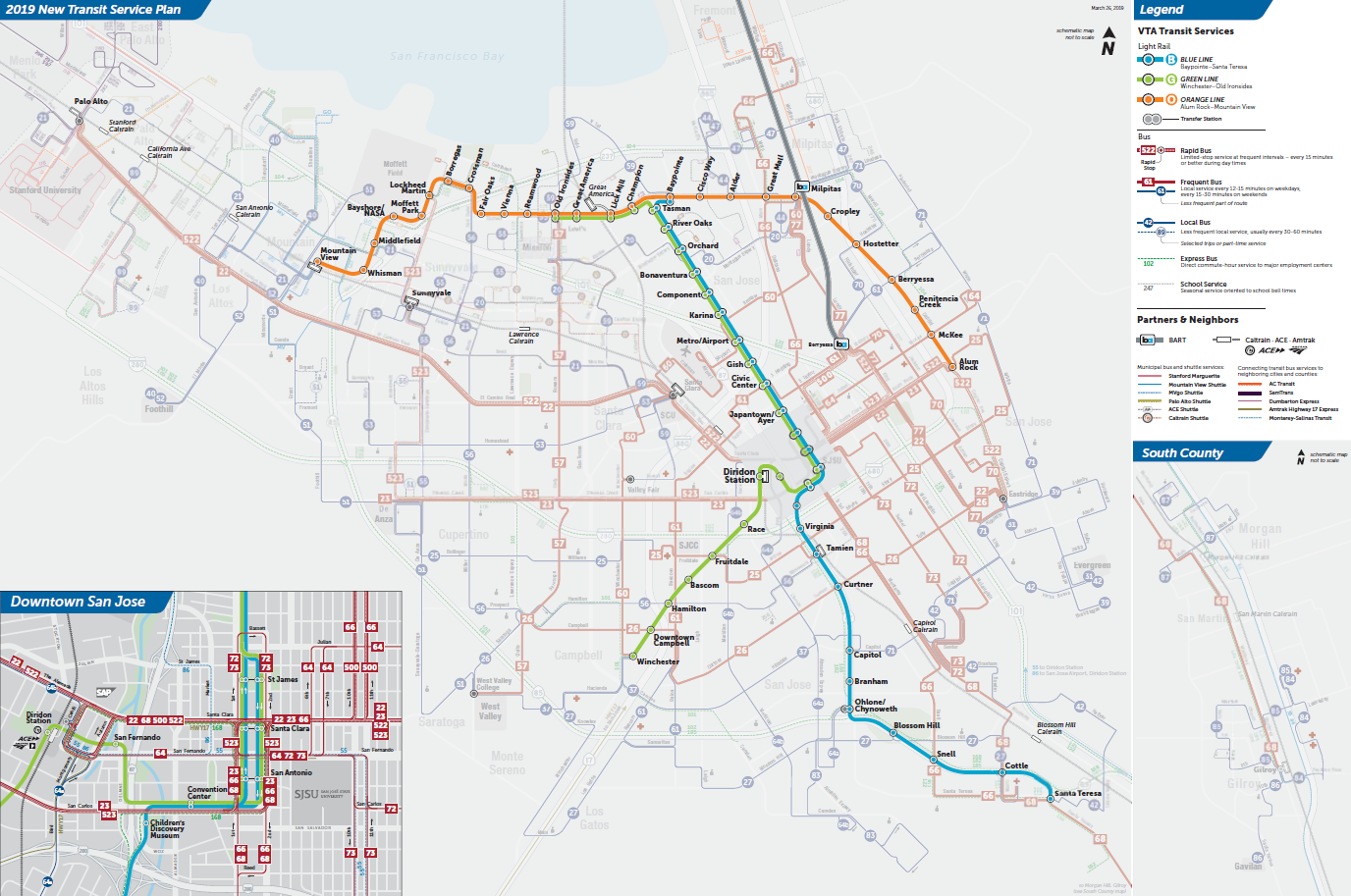Mapa ng Light Rail sa Final na 2019 New Transit Service Plan ng VTA  (PDF)
