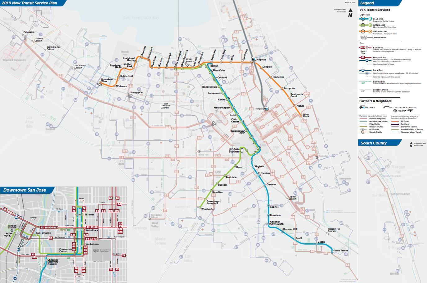 Mapa ng Light Rail sa Final na 2019 New Transit Service Plan ng VTA  (PDF)