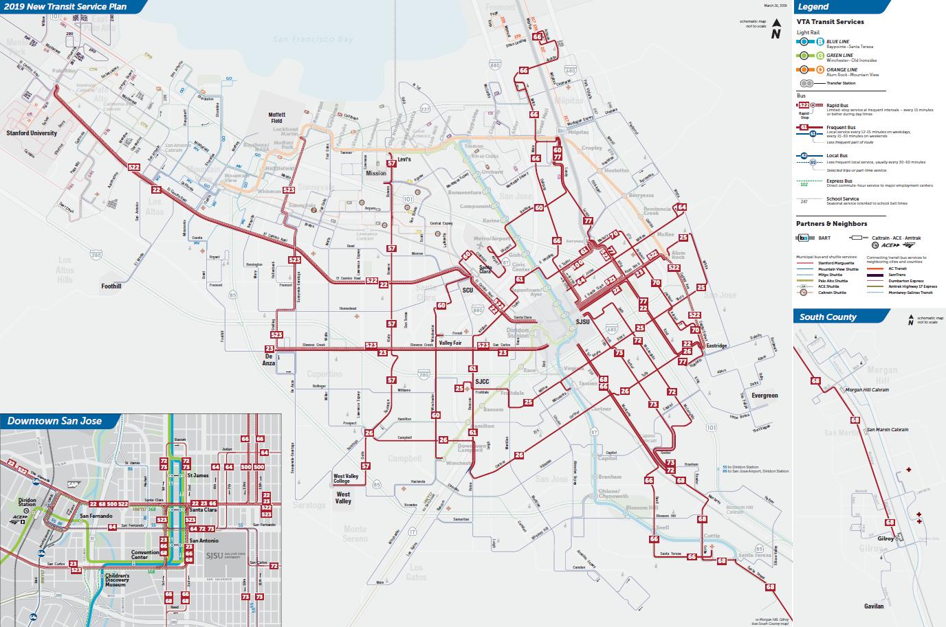 Mapa ng mga Frequent Routes sa Final na 2019 New Transit Service Plan ng VTA  (PDF)