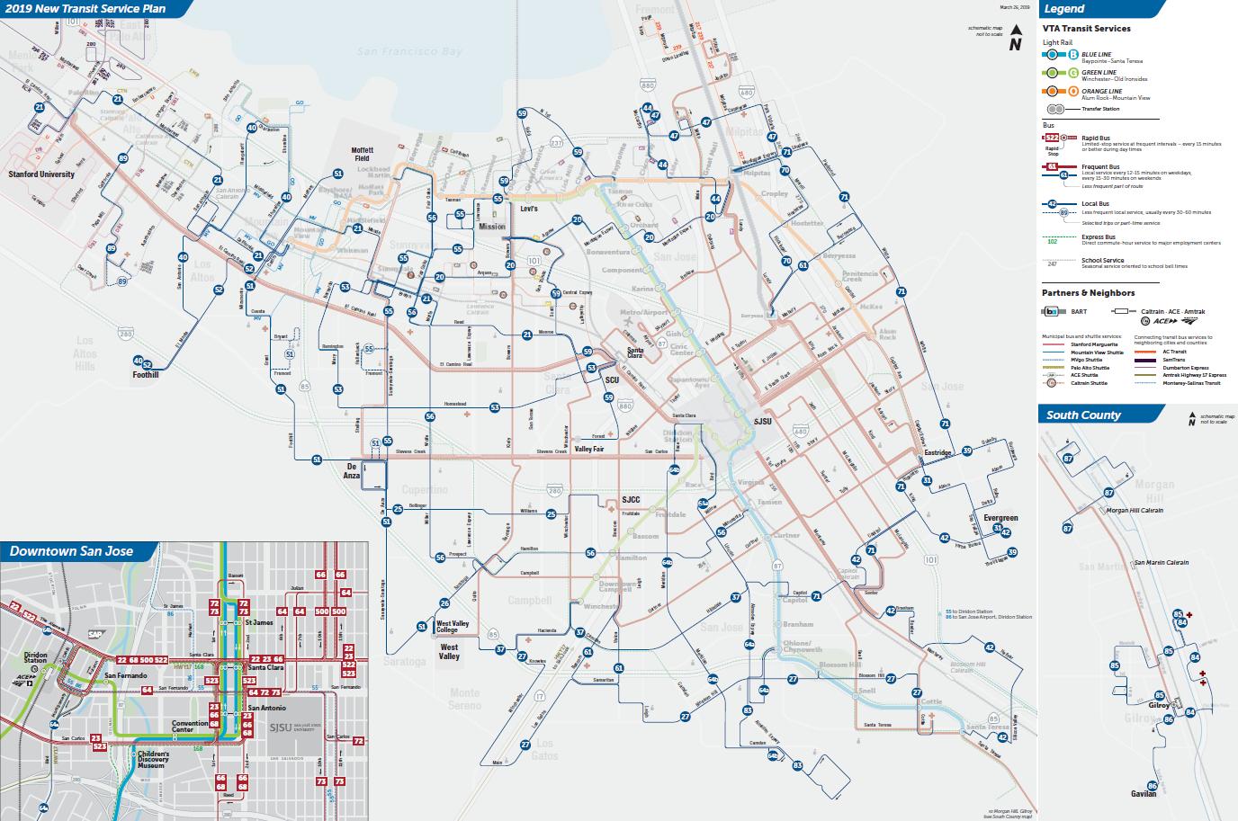 Mapa ng mga Lokal na Ruta sa Final na 2019 New Transit Service Plan ng VTA  (PDF)