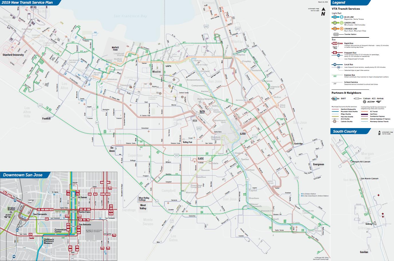 Mapa ng mga Express na Ruta sa Final na 2019 New Transit Service Plan ng VTA  (PDF)