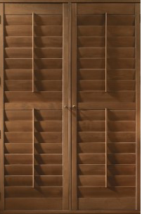 "3 1/2"" Louver Teak wood shutters  :  custom  :  smith & noble offers free in-home measuring & design services for color matching & perfect sizing"