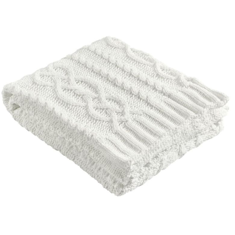 white cable knit throw blanket -