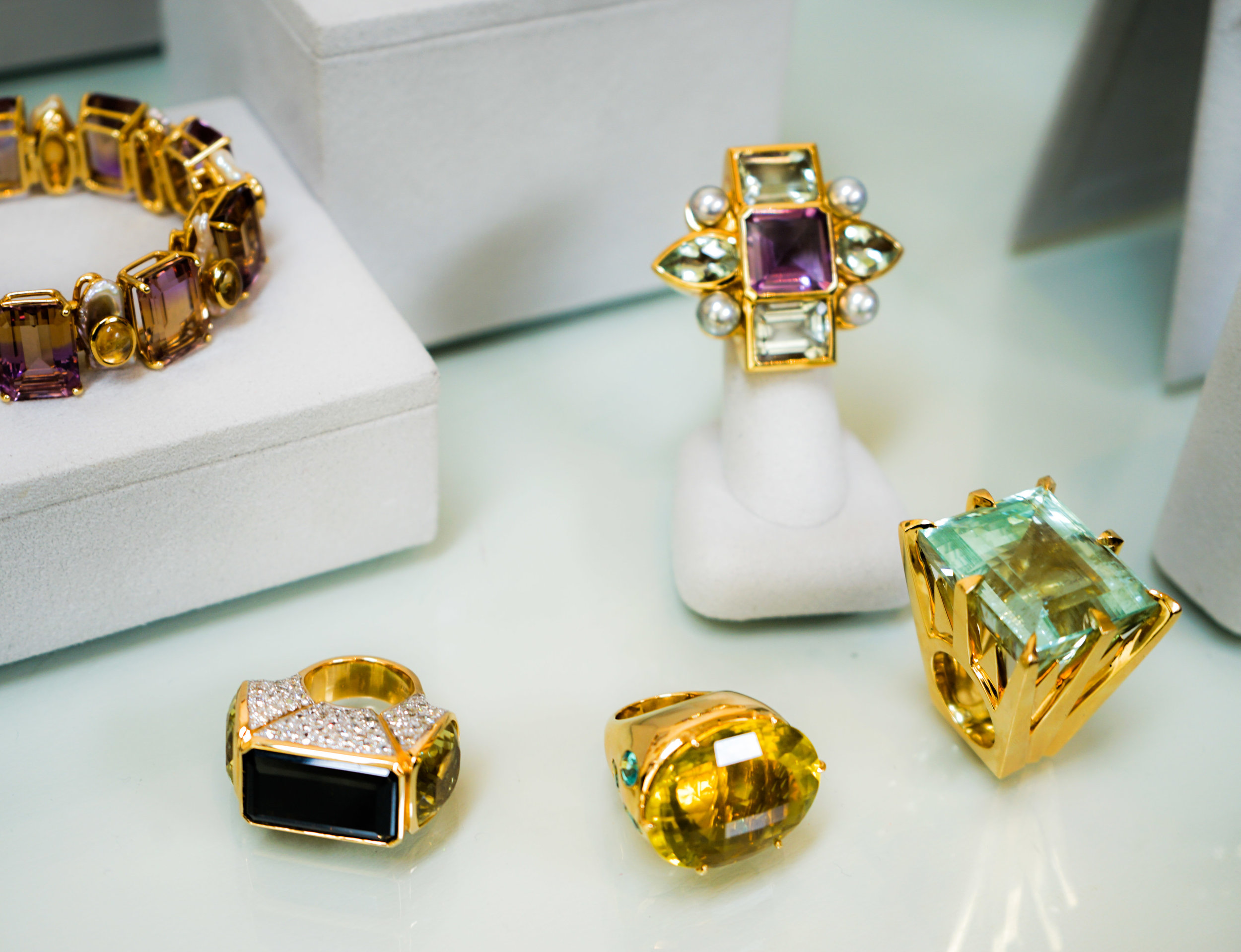 A few Tony Duquette cocktail rings.