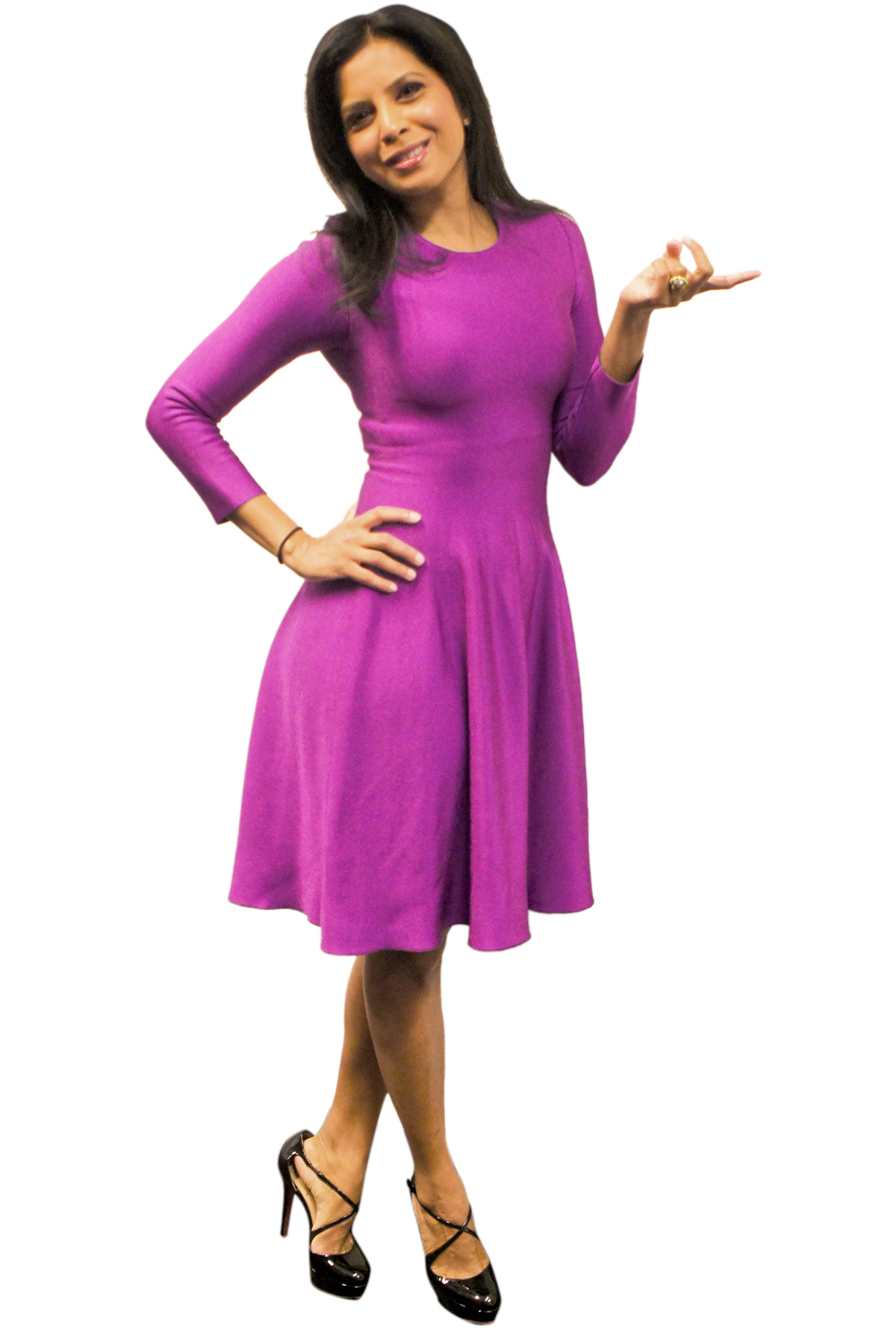 Hitha Herzog  in a purple flouncy dress and black patent Louboutins while on air at Fox News on December 23rd, 2016. Stay tuned for highlights from the show!