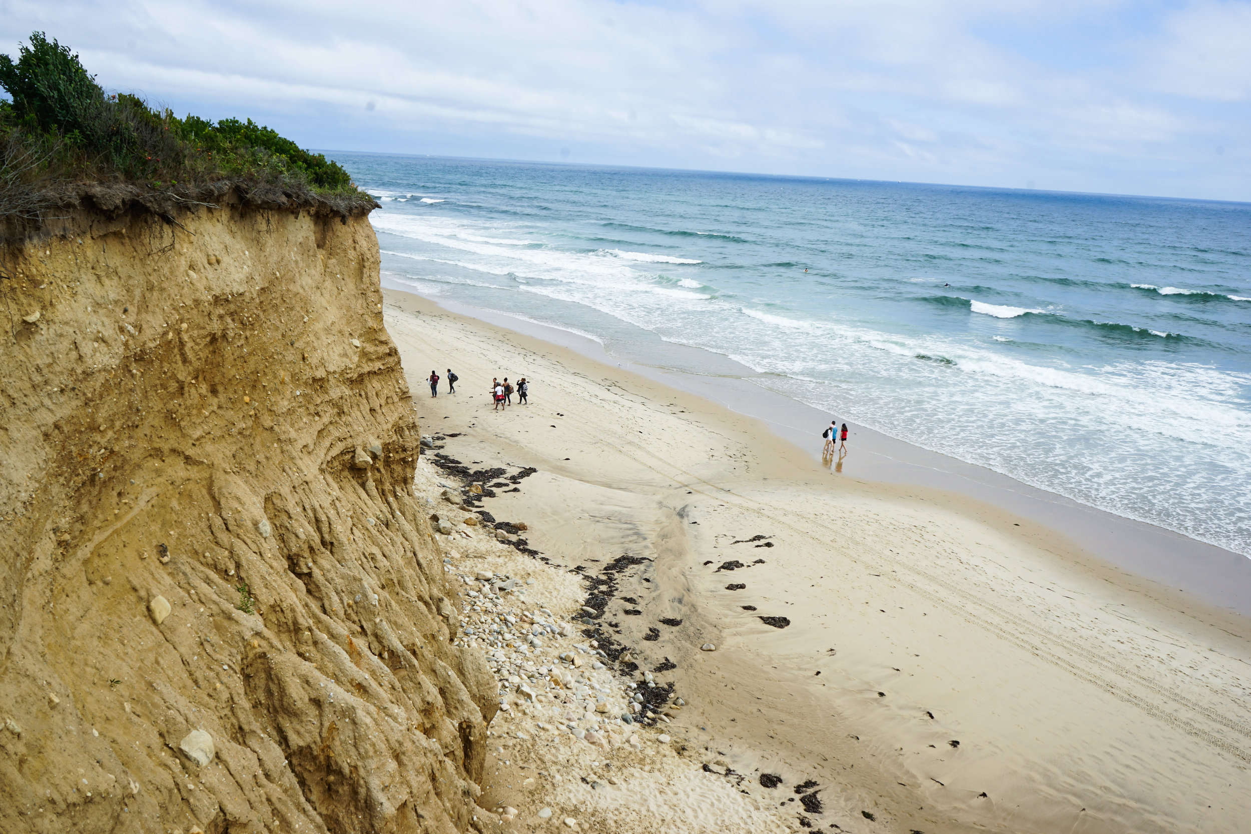 Overlooking the beach from a rocky dune.