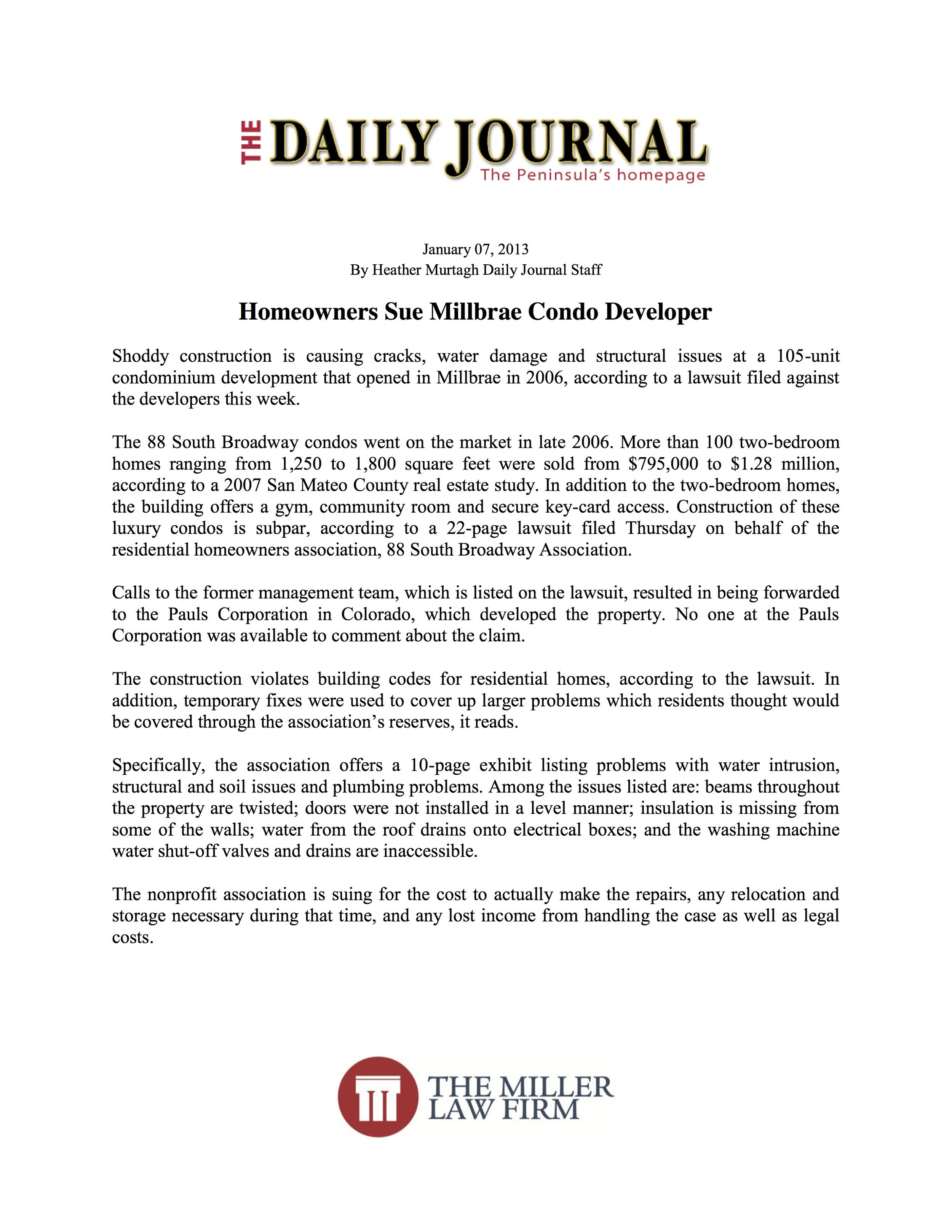 Daily Journal - Homeowners Sue Millbrae Condo Developer