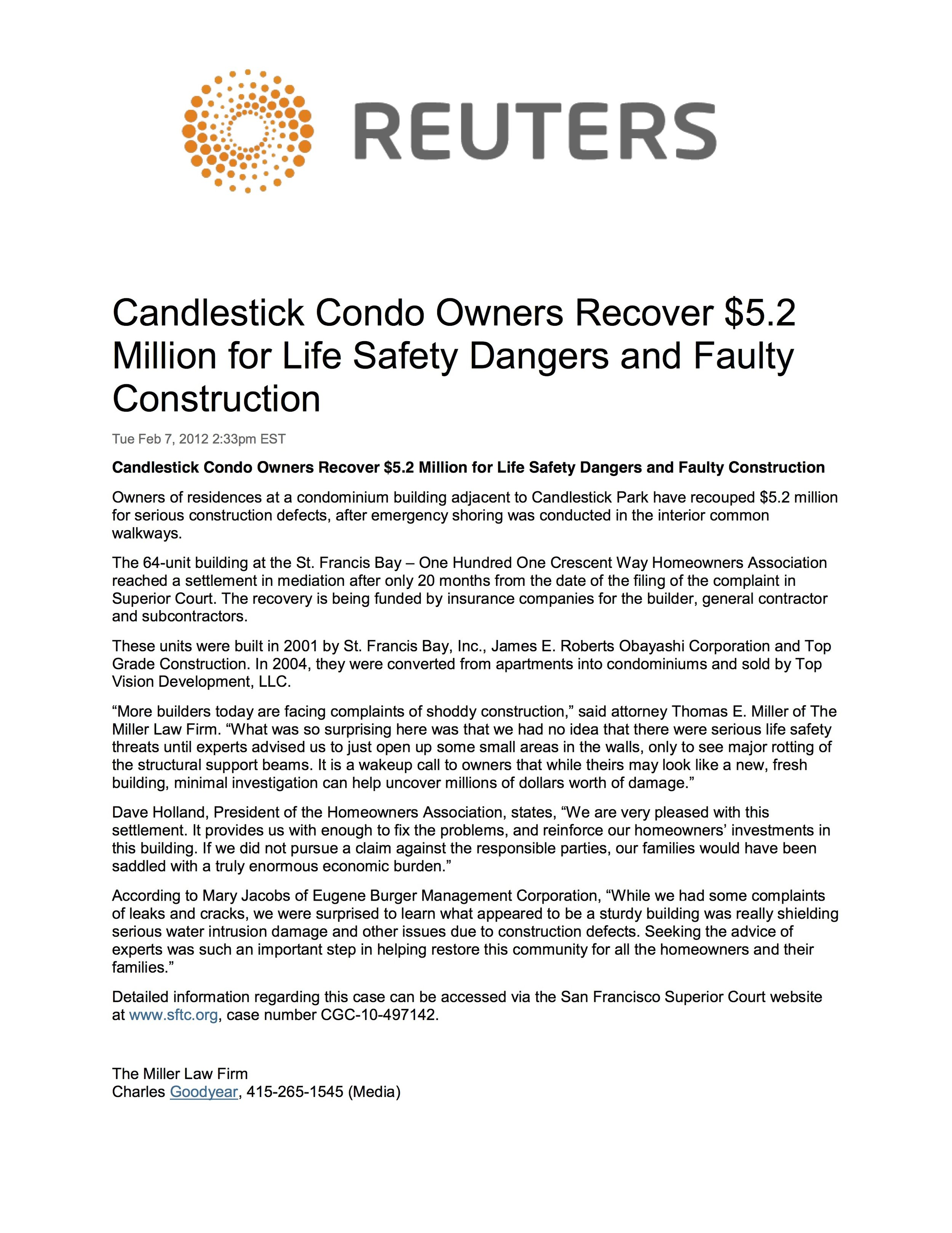 Reuters - Candlestick Condo Owners Recover