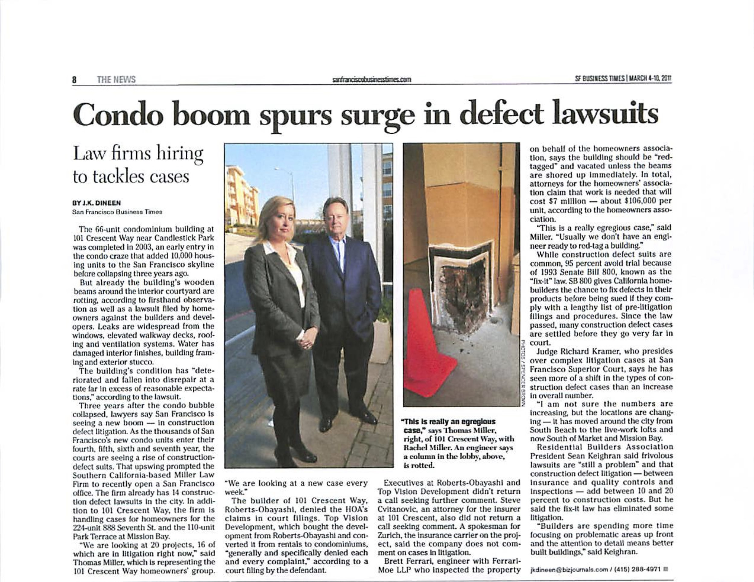 SF Business Times - Condo Boom Spurs Surge in Defect Lawsuit