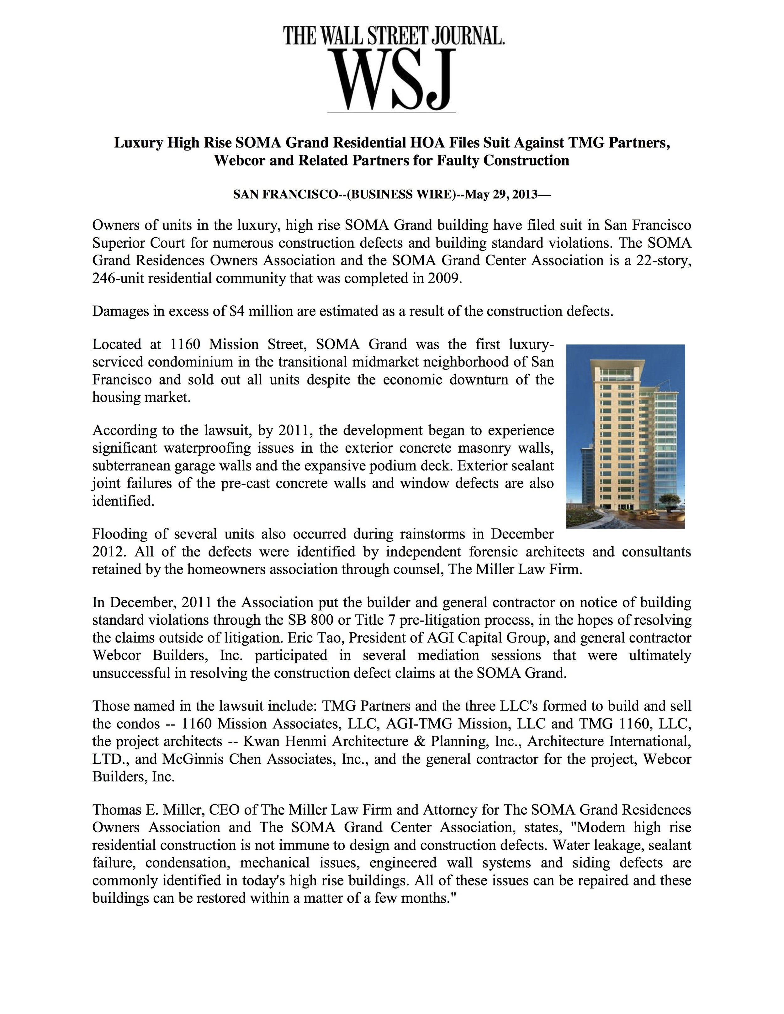 The Wall Street Journal - Luxury High Rise SOMA Grand Residential HOA Files Suit Against TMG Partners, Webcor and Related Partners for Faulty Construction
