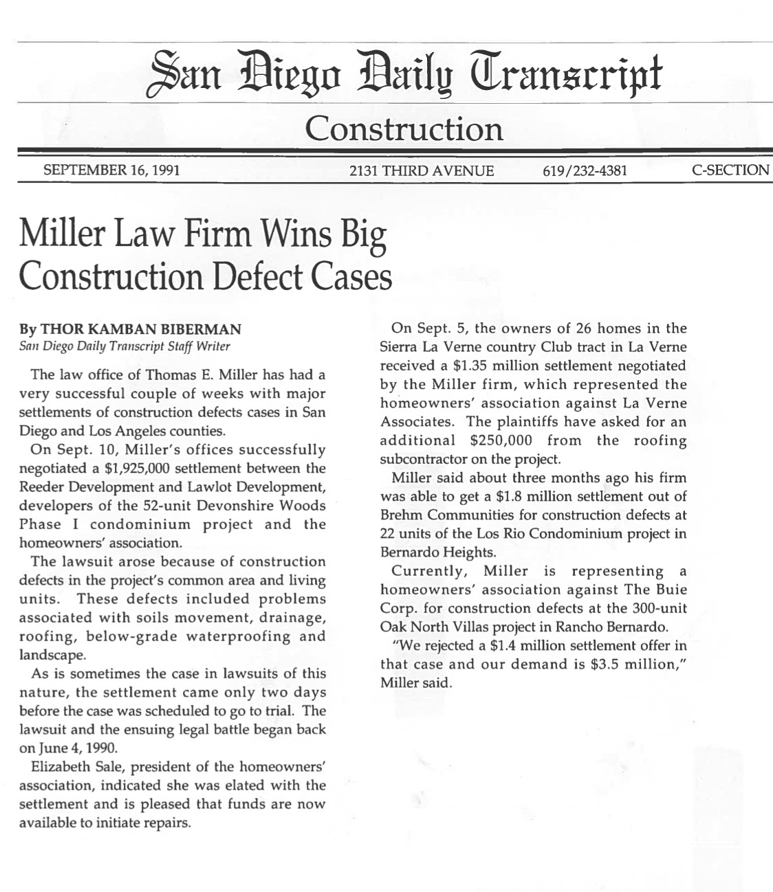 San Diego Daily Transcript - Miller Law Firm Wins Big Construction Defect Cases