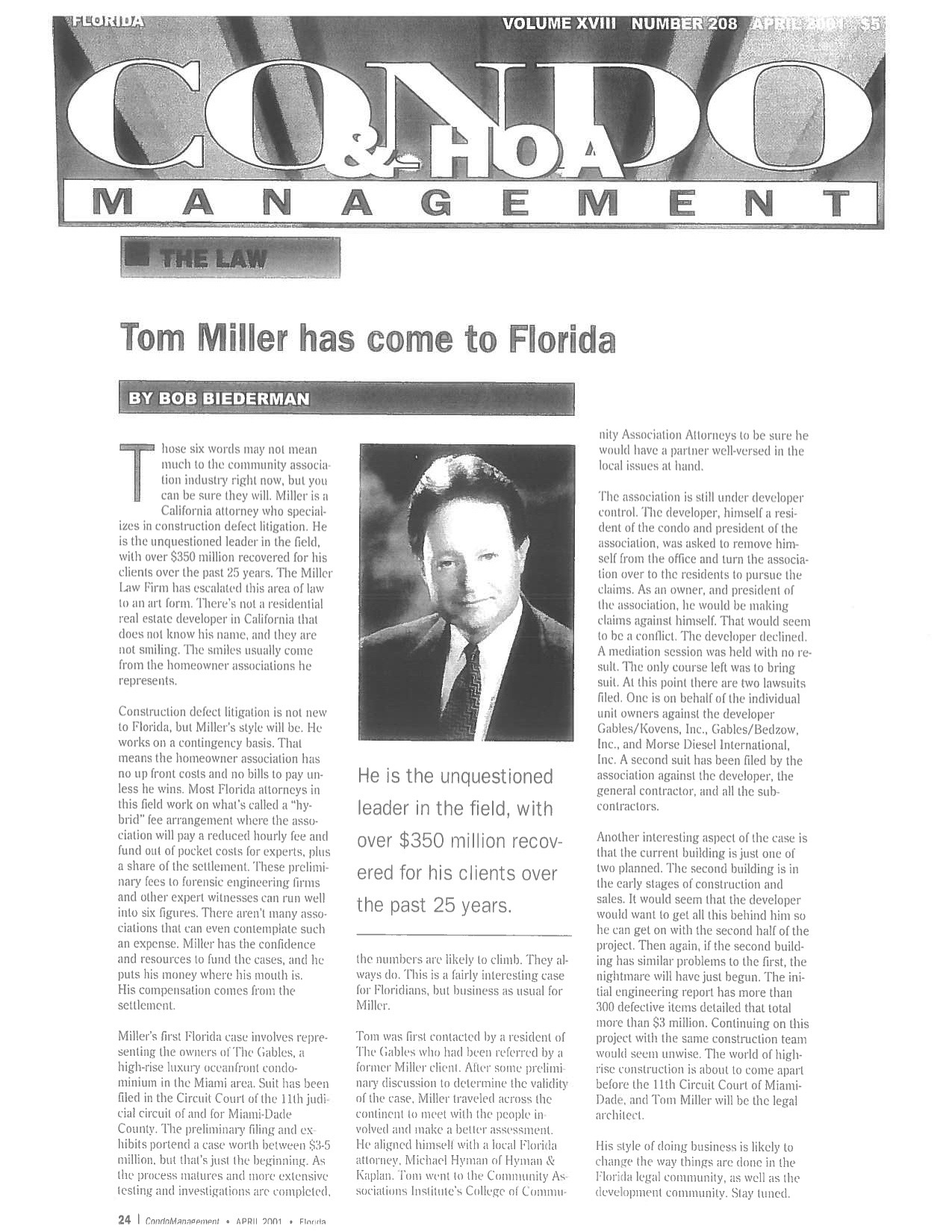 Condo & HOA Management - Tom Miller Has Come To Florida