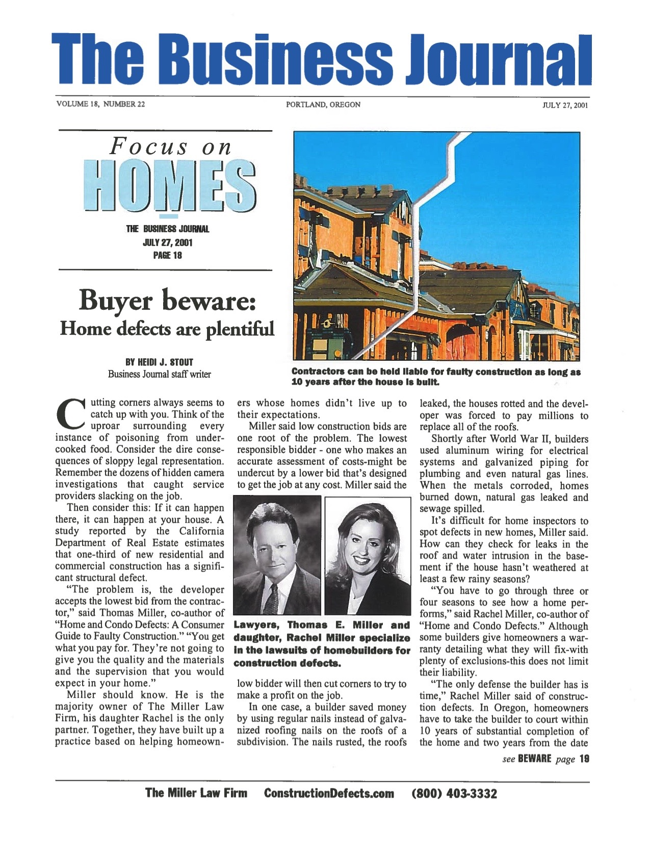 The Business Journal - Buyer Beware - Home Defects Are Painful
