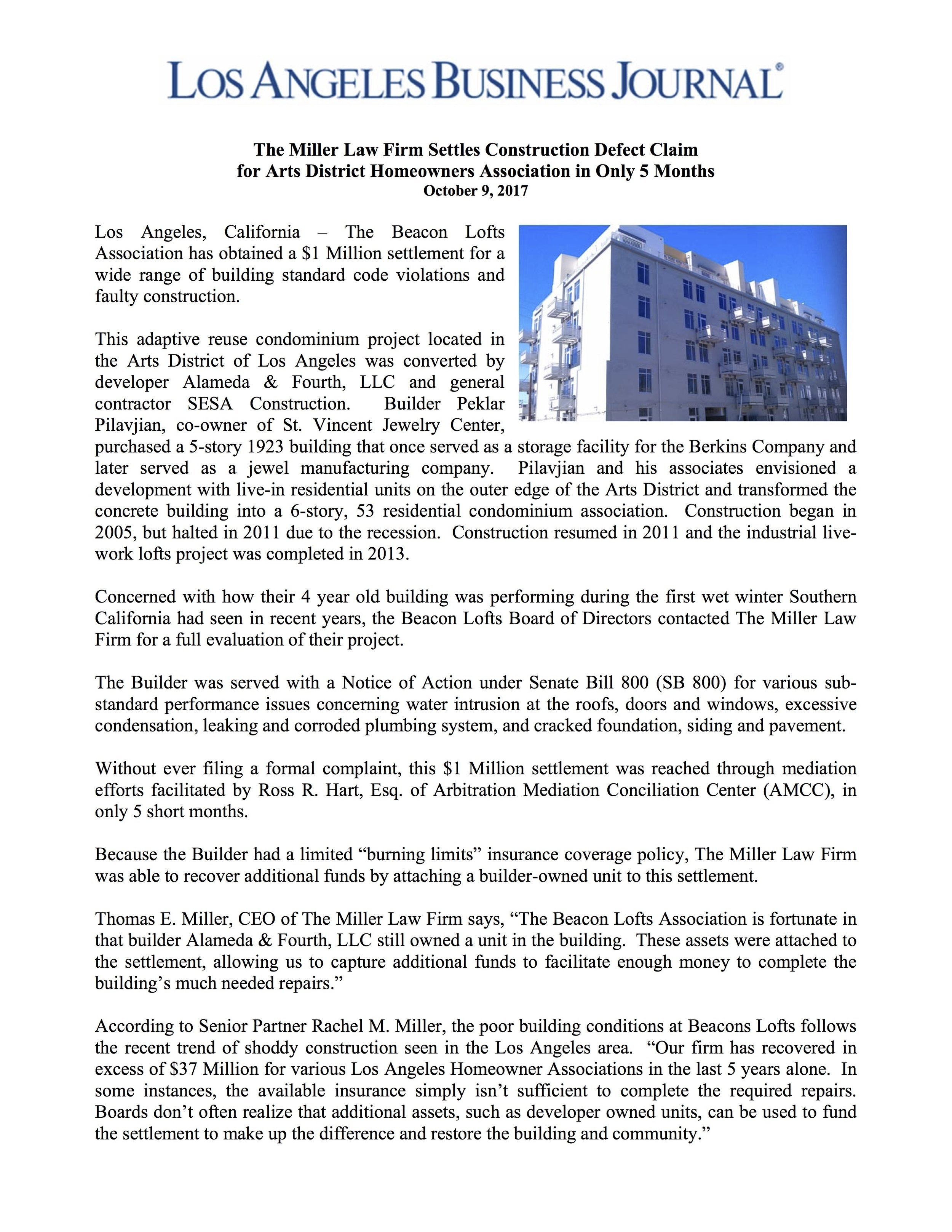 Beacon Lofts Press Release