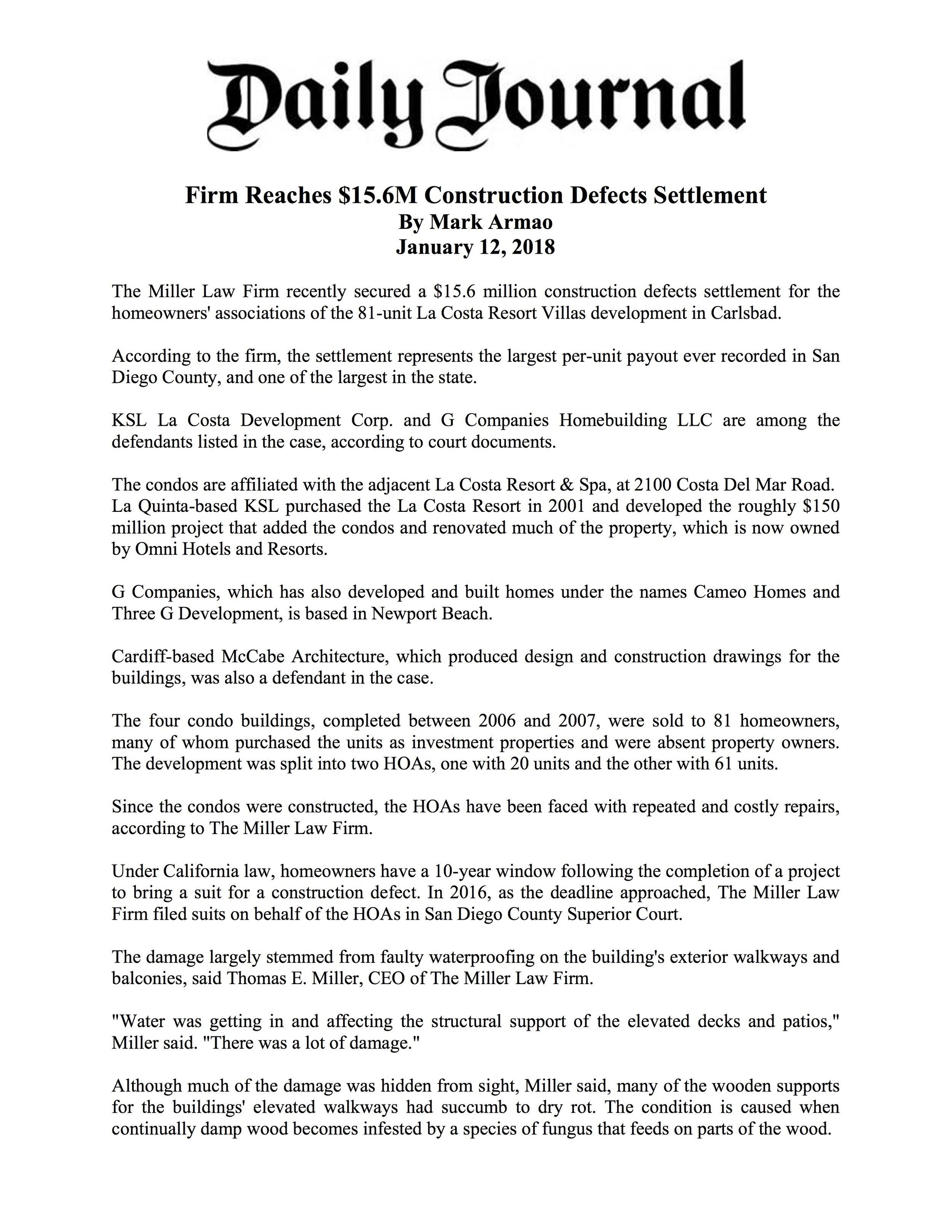 Daily Journal -Firm Reaches $15.6M Construction Defects Settlement