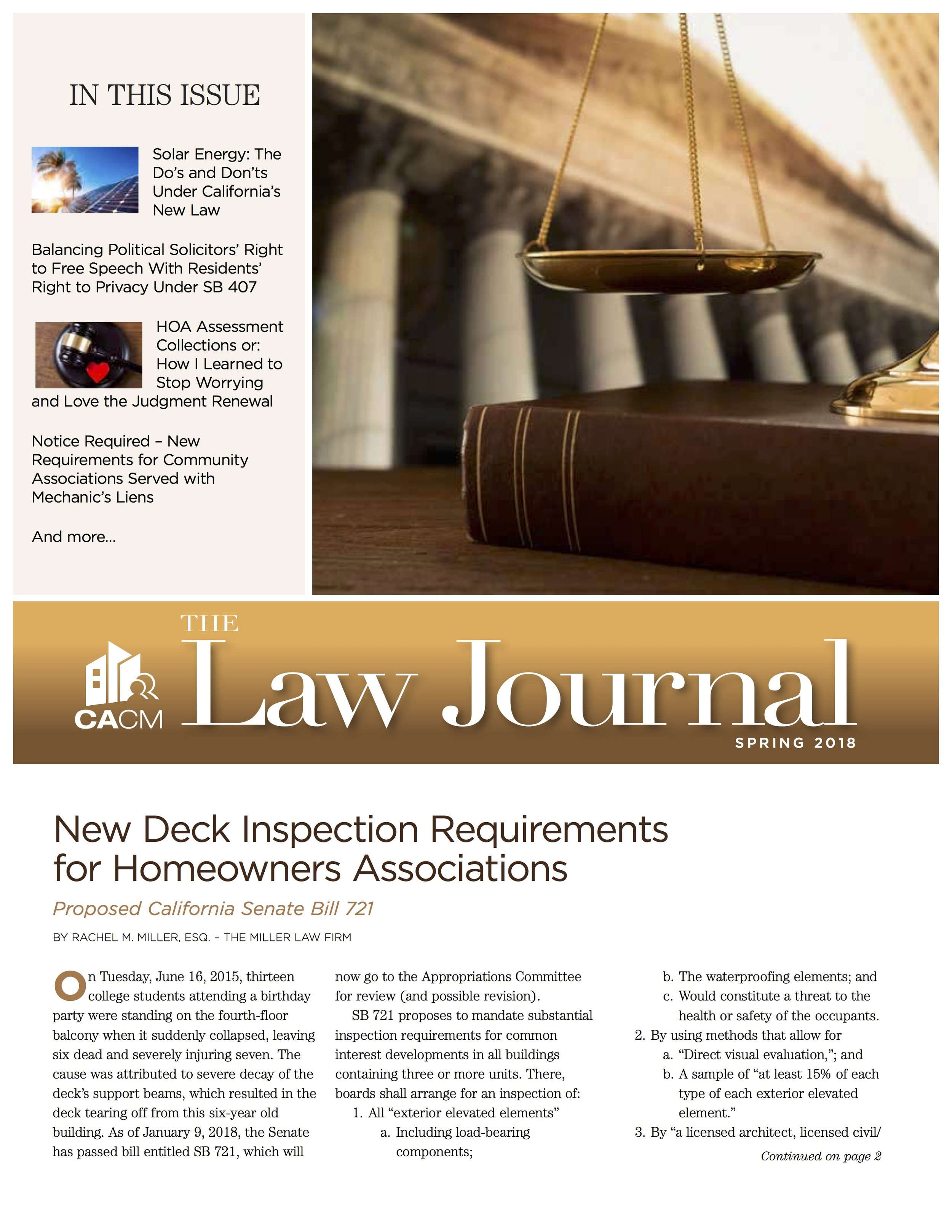 California Association of Community Managers Law Journal Spring Edition - New Deck Inspection Requirements for Homeowners Associations
