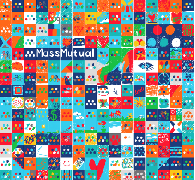 What are your priorities in life? - MassMutual wanted an interactive artistic experience that reflected their brand values at their 2018 Hubweek booth.Their brand colors were used to correspond to peoples priorities where Red=Love, Blue=Friends, Orange=Happiness, etc.Participants re-colored MassMutual's logo with the colors important to them, creating this collaborative digital art x data visualization.
