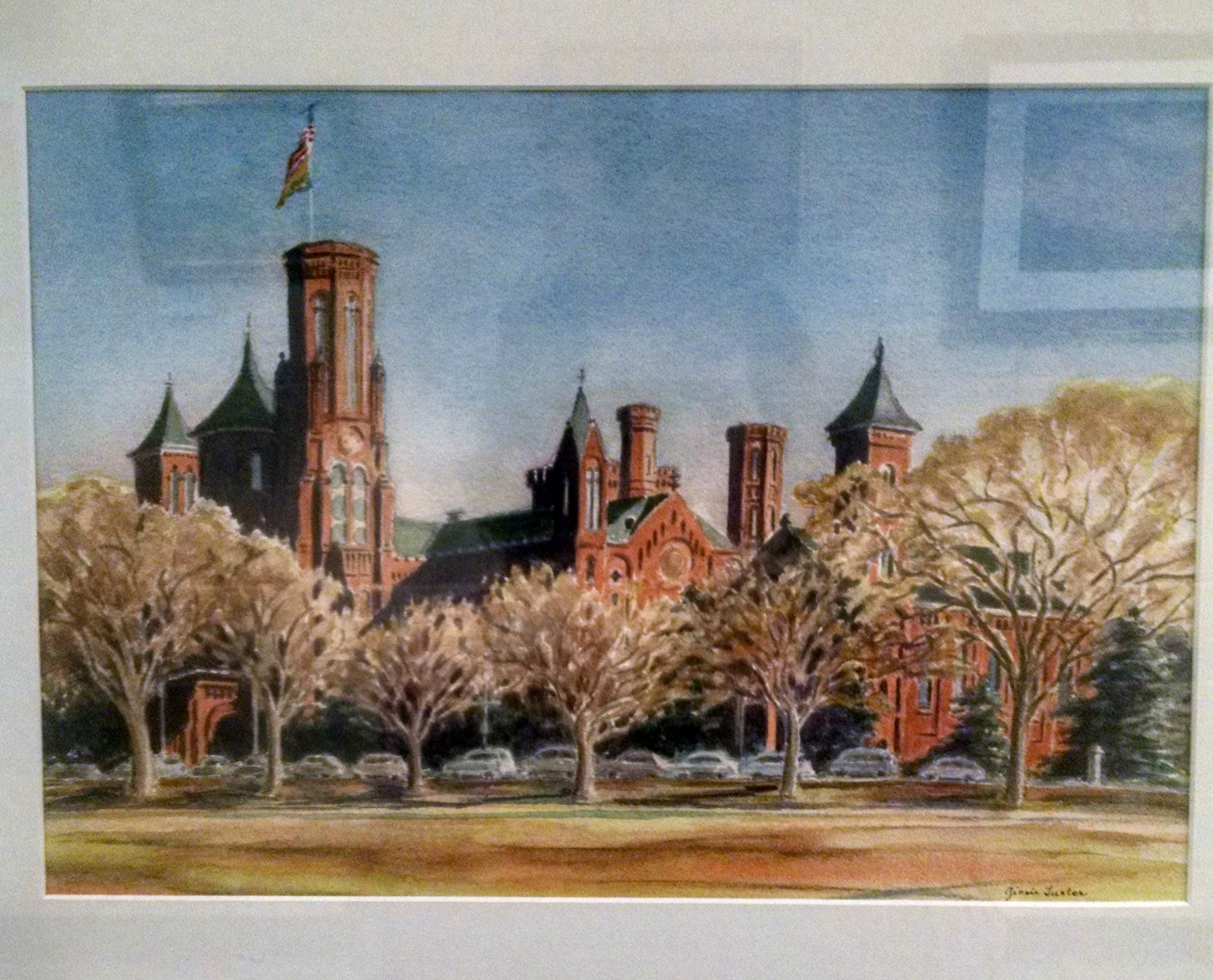 The REC center hallway features a neat variety of art from the McLean Art Society.  This one is called The Castle, Late Afternoon by Ginnie Luster. It is a watercolor of the Smithsonian castle in DC