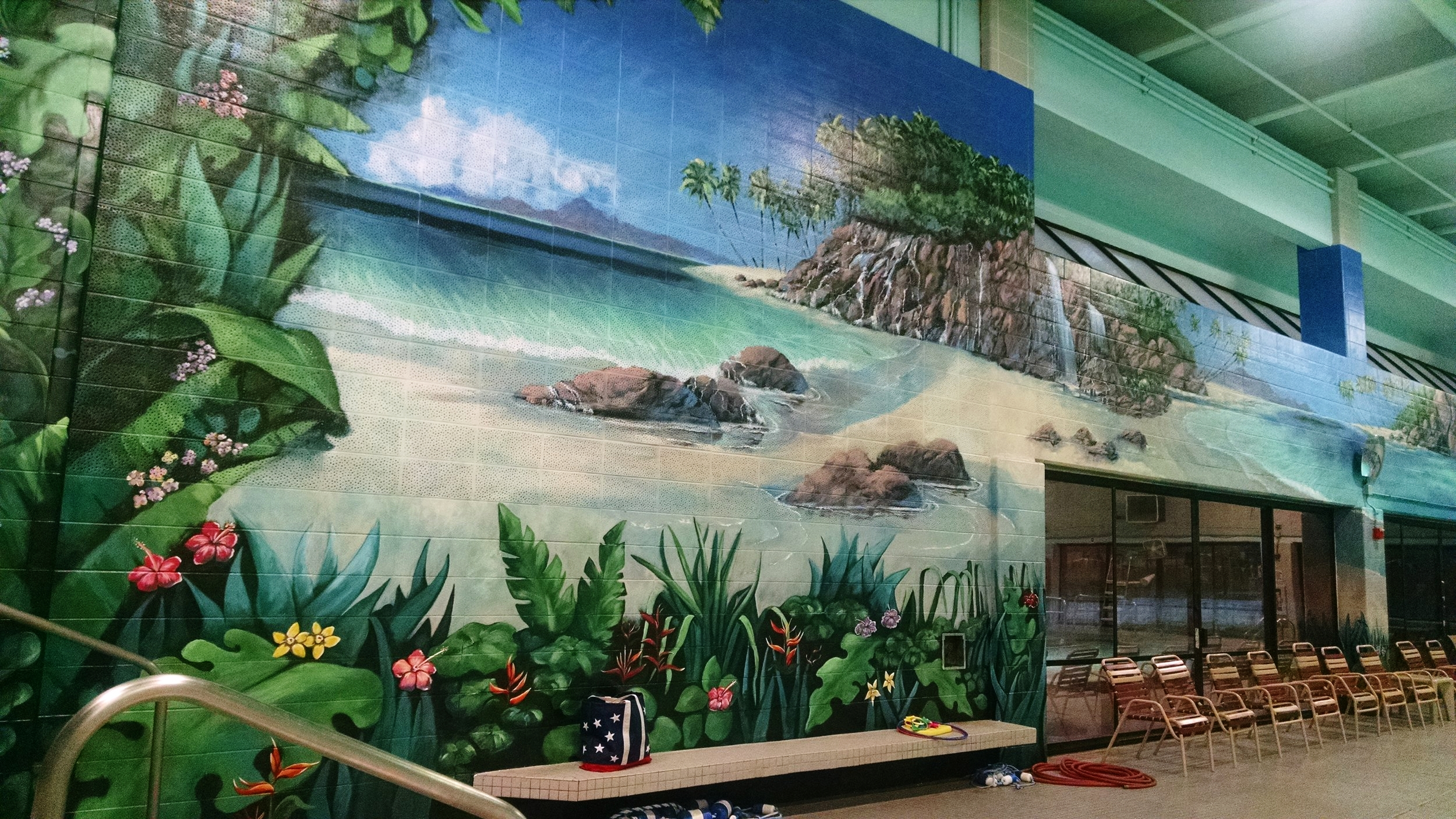 Highlight of the week was getting back into the pool.  This mural runs across the whole side wall and the picture does not do it justice.