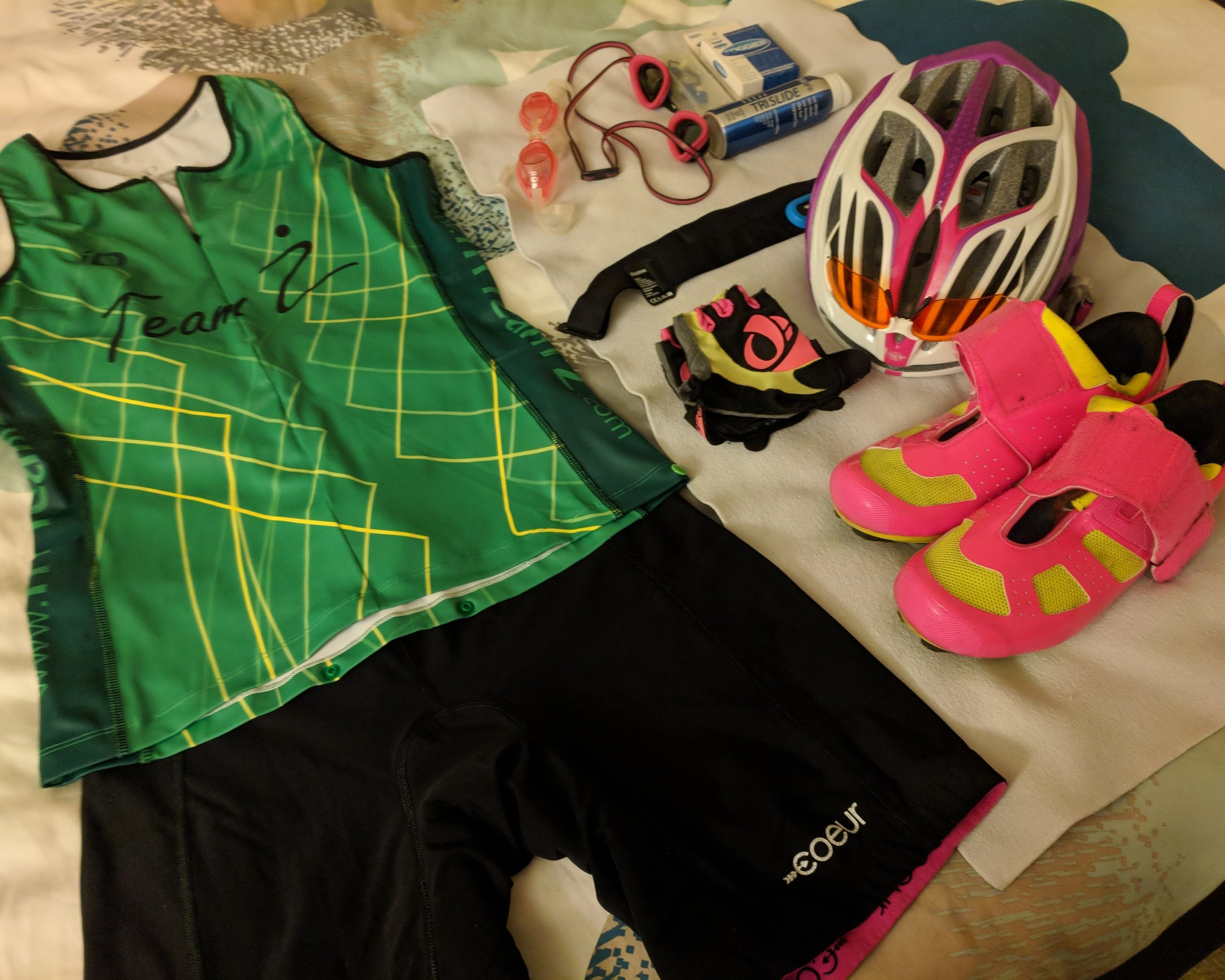Less stuff than for a triathlon….but not by much!