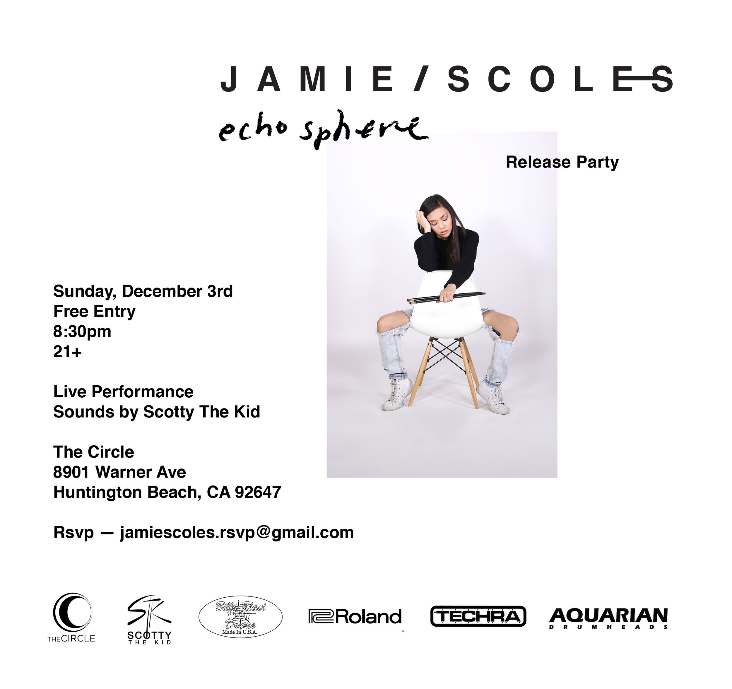 """Echosphere"" officially releases on 12/2/17 and a celebration is a necessity! Come and catch the very first live performance of the album and the very first live performance as a solo artist THIS SUNDAY on 12.3.17 in Huntington Beach, California! Come out and bring everyone you know - RSVP now at jamiescoles.rsvp@gmail.com.  Pre-order the Echosphere album NOW //  Click here to pre-order"