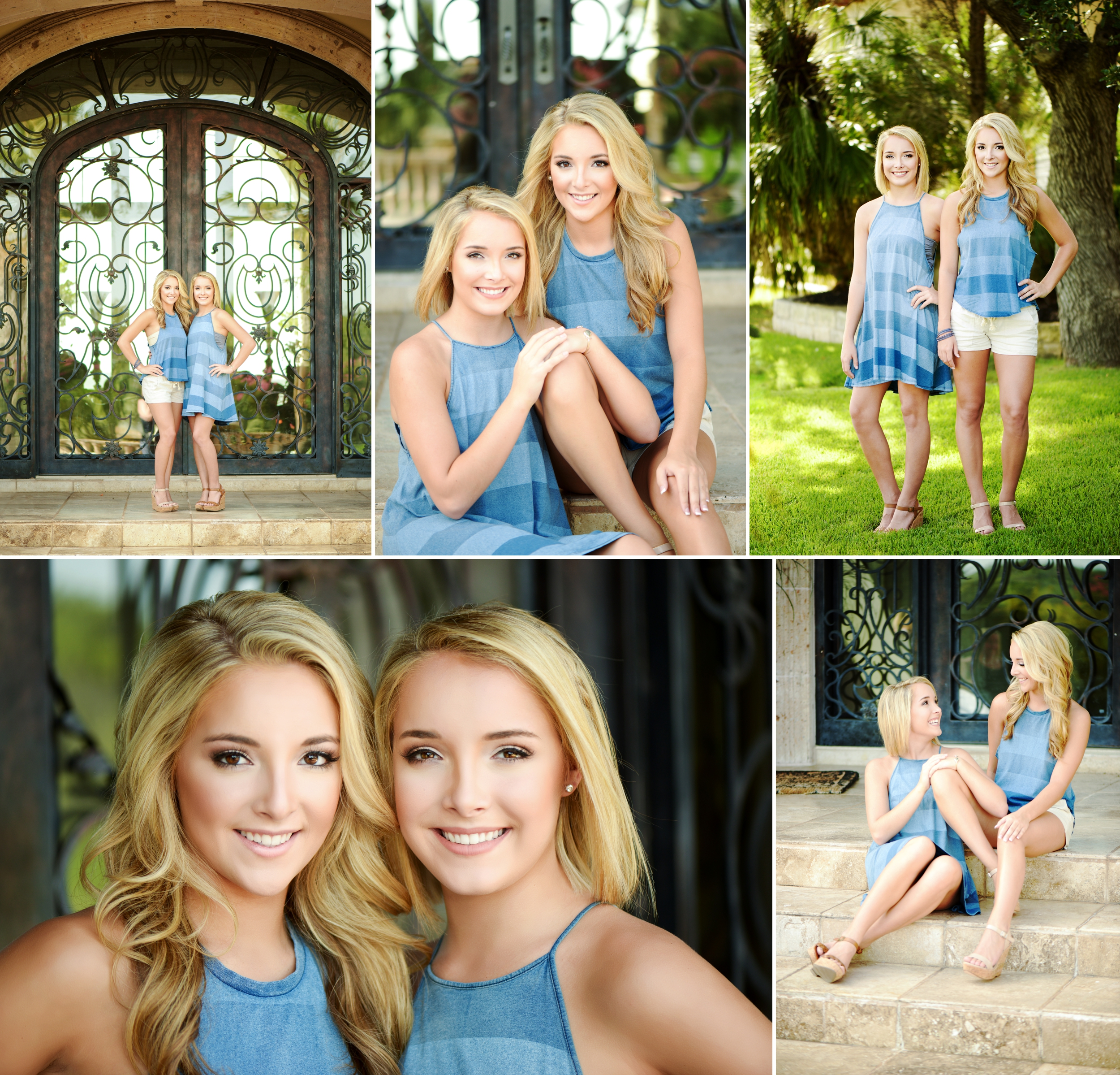 Lake Travis twins, senior portraits at a Lakeway, Texas estate