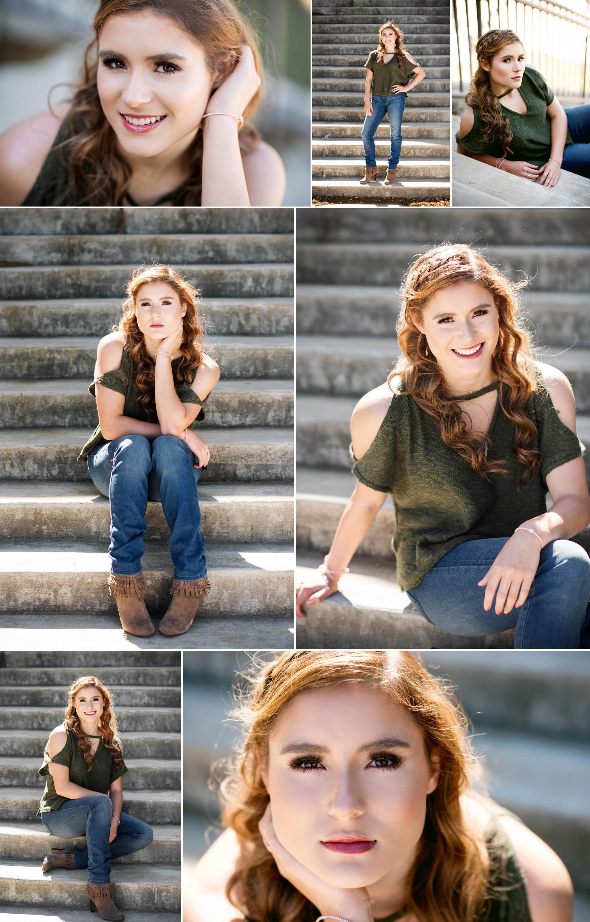 Austin Senior Photographer, urban senior portraits, backlit hair, redhead, stairs