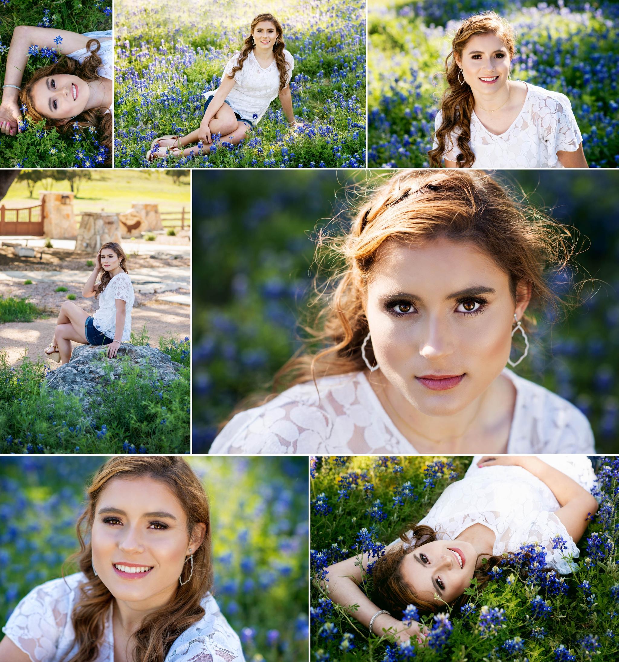 Austin senior photographer, bluebonnets, Texas, outdoor, backlit, natural light