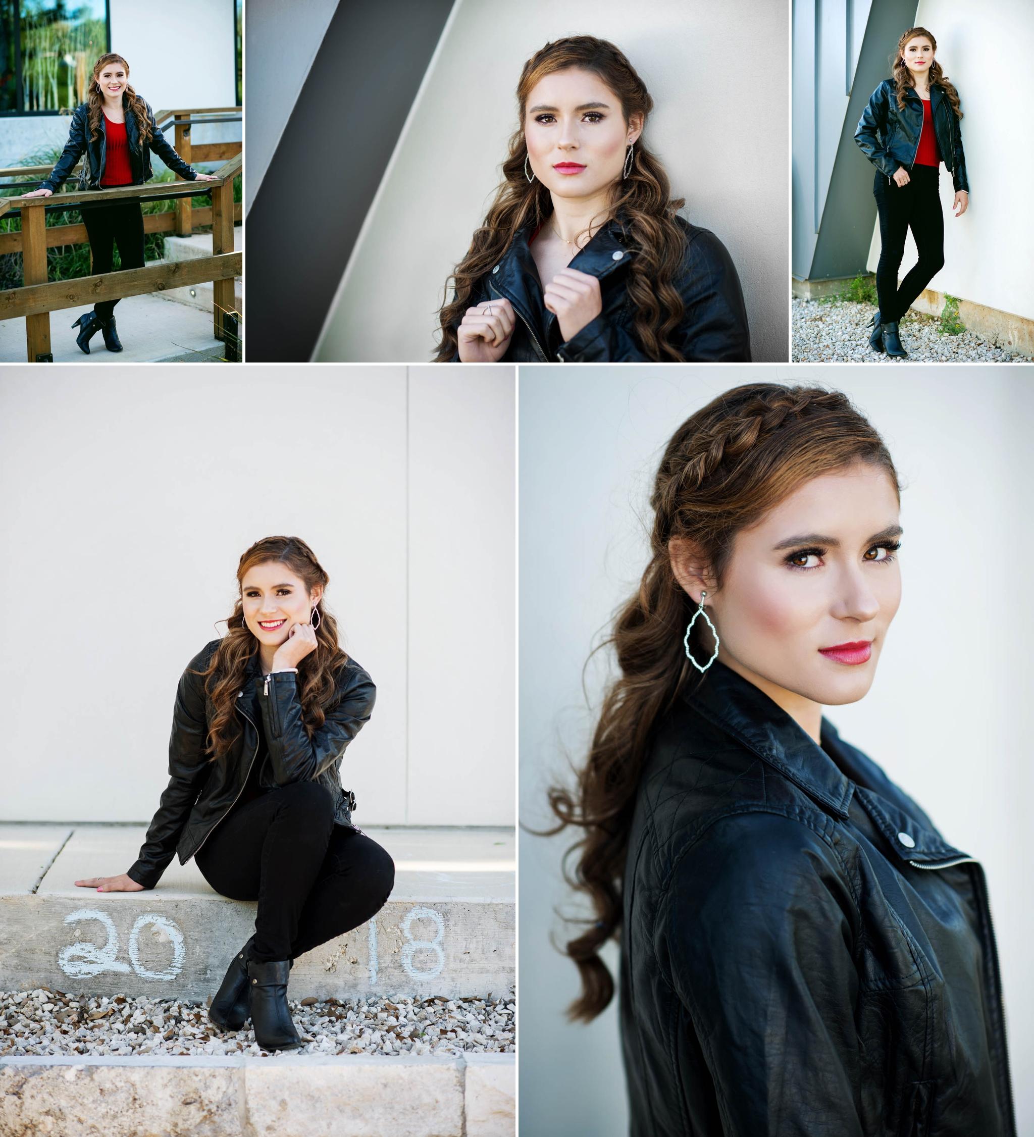 Austin senior photographer, urban, black leather jacket, upscale senior portraits