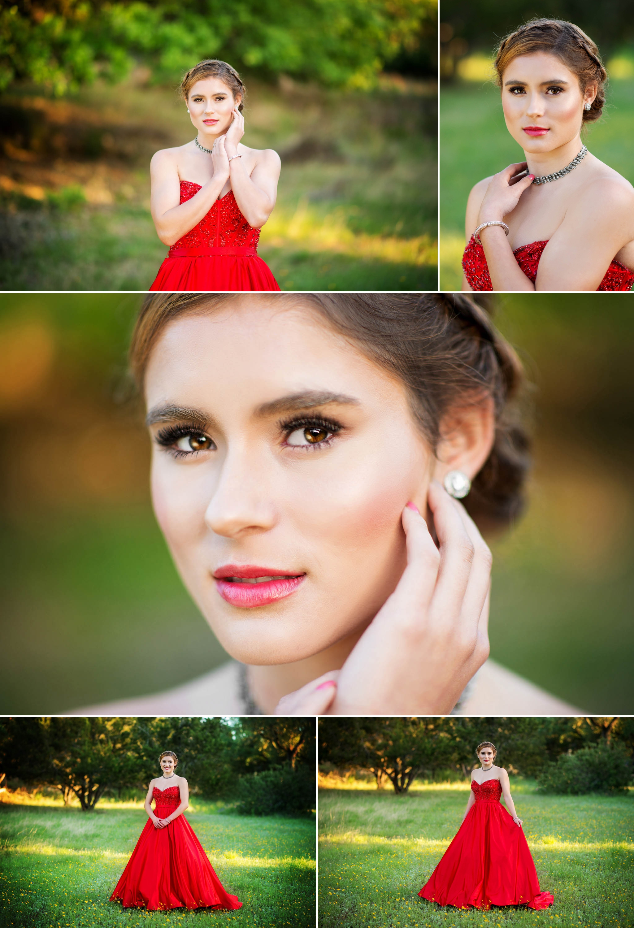 Austin senior photographer, prom pictures, red prom dress, red dress, updo, field, yellow flowers
