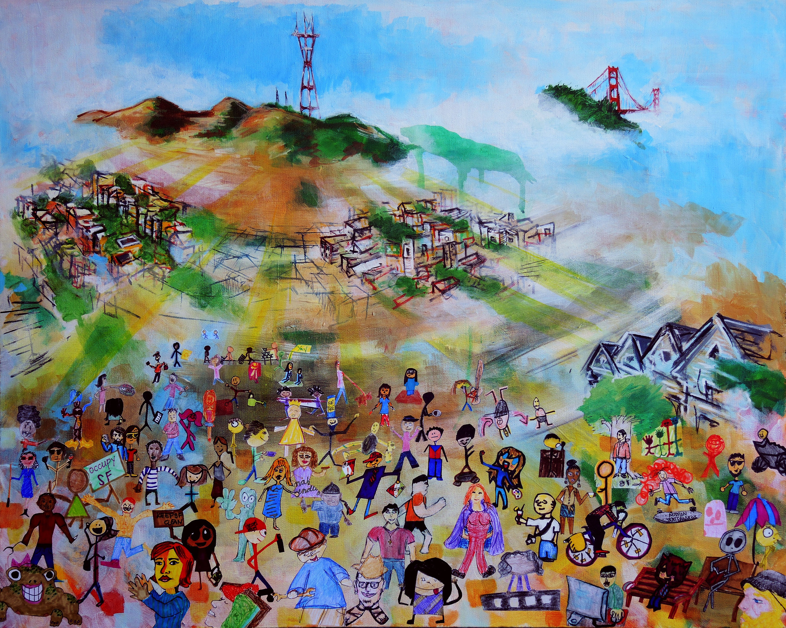 Awesomeness in San Francisco, mixed media and acrylic on canvas, Todd Berman et al.