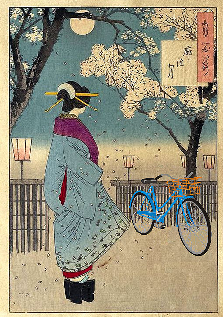 """""""Bicycle in the Pleasure Quarter, after Yoshitoshi"""" by  Mike Licht, Flickr ."""