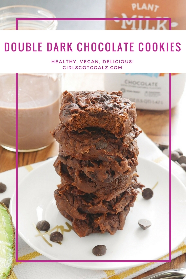 Double Dark Chocolate Cookie Recipe (V) using Bolthouse Farms Chocolate Plant Milk