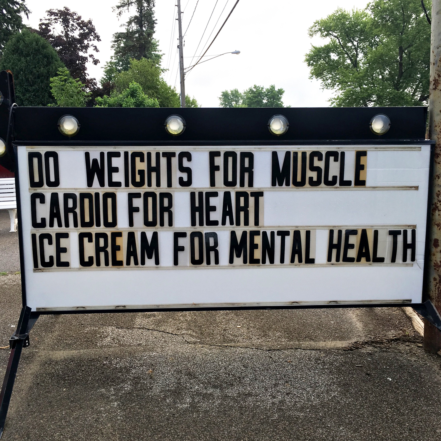 Do weights for muscle, cardio for heart, and ice cream for mental health #GirlsGotGoalz