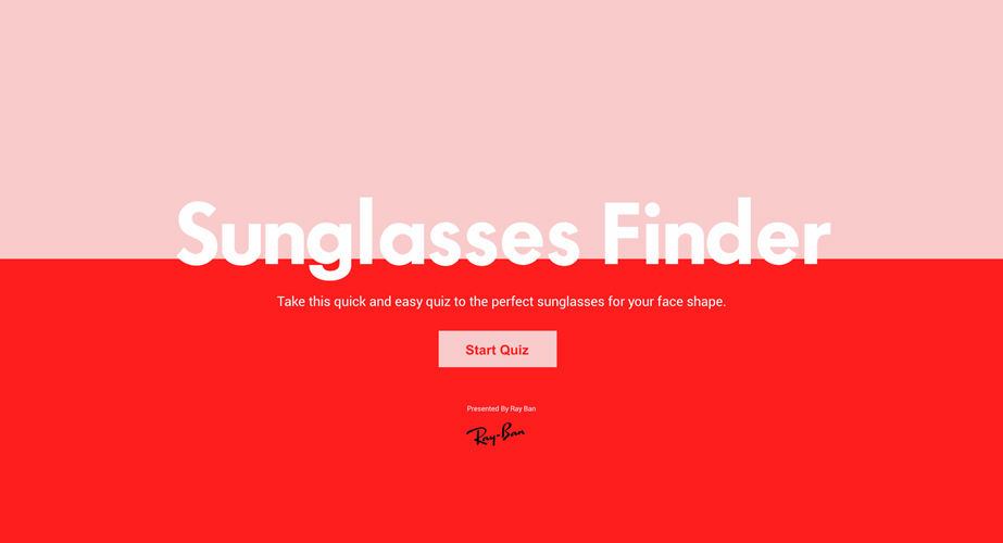 Sunglasses Finder, Interactive Quiz for SheFinds x RayBan