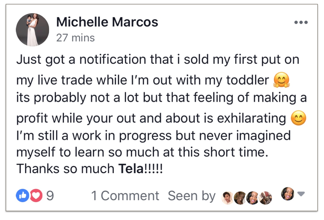 Trade Your 9 to 5 Testimonial Michelle