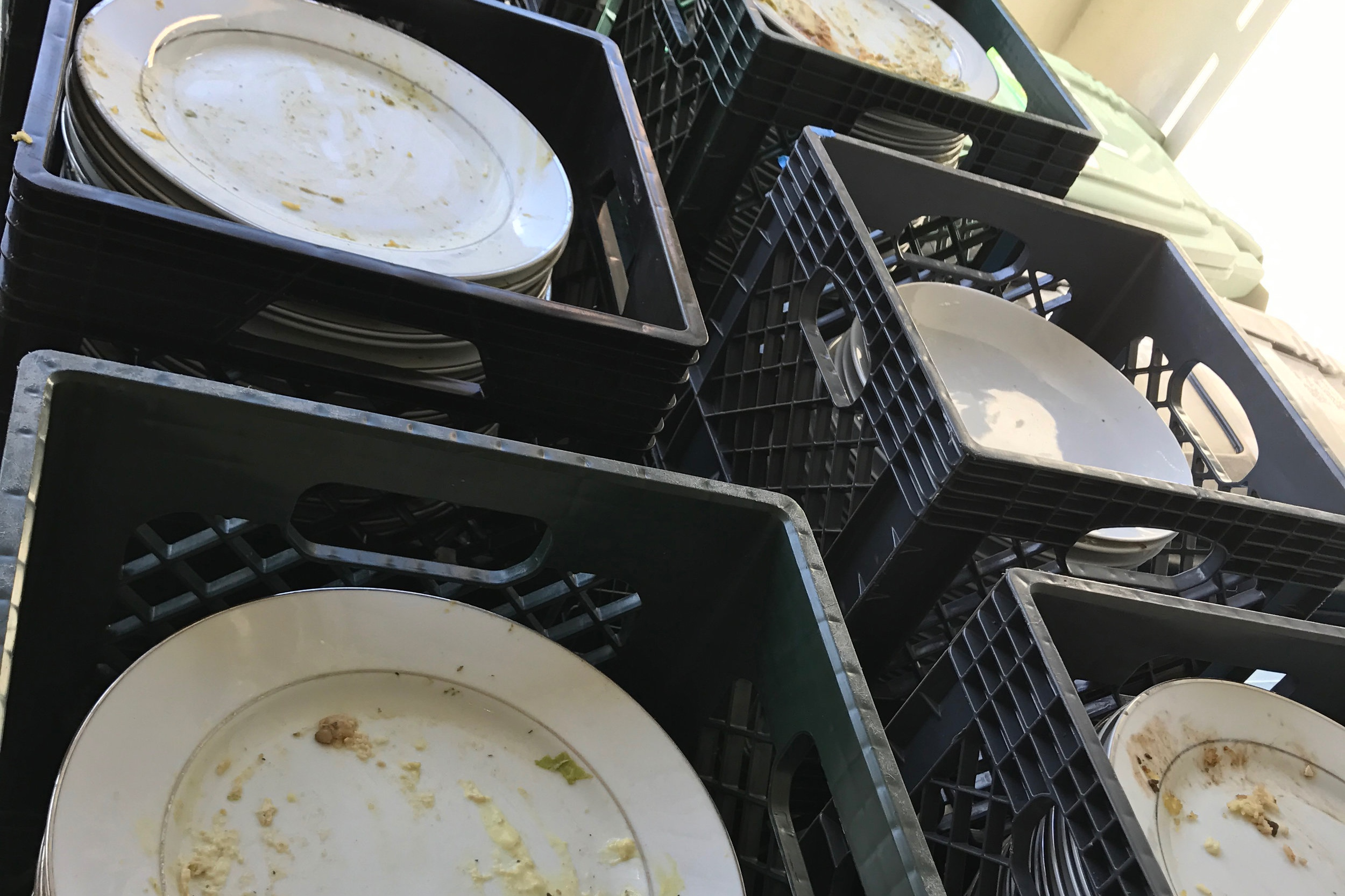 The arrival of the first batch of dirty plates to be cleaned by our robot
